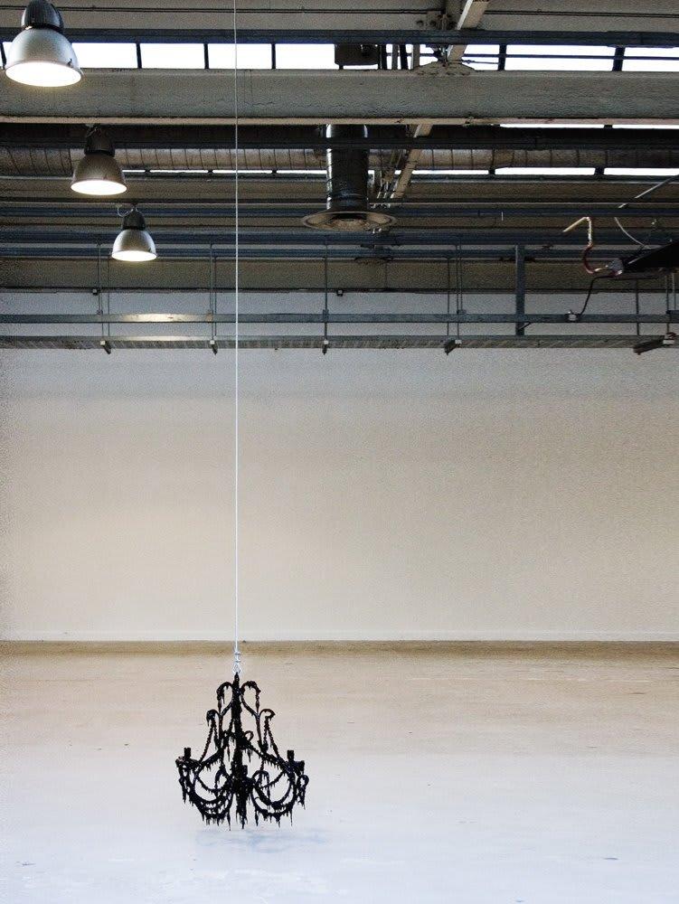 <span class=&#34;link fancybox-details-link&#34;><a href=&#34;/exhibitions/15/works/artworks432/&#34;>View Detail Page</a></span><div class=&#34;medium&#34;>Electric Chandelier, Bitumen, Gloss Paint</div> <div class=&#34;dimensions&#34;>50 x 40 x 40 cms<br />19.7 x 15.76 x 15.76 inches</div>