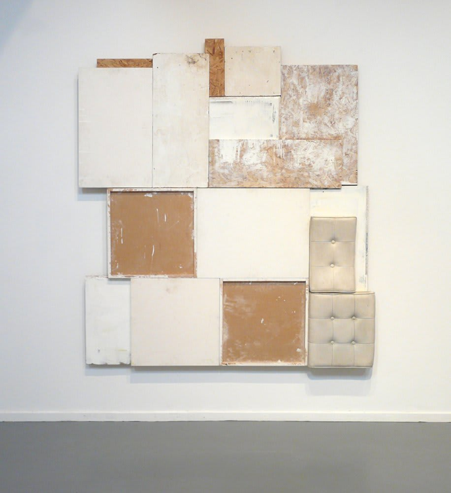 """<span class=""""link fancybox-details-link""""><a href=""""/artists/27-paul-merrick/works/5534-paul-merrick-untitled-construction-white-2010/"""">View Detail Page</a></span><div class=""""artist""""><strong>Paul Merrick</strong></div> <div class=""""title""""><em>Untitled (Construction White)</em>, 2010</div> <div class=""""medium"""">Chipboard, Ply, Mdf, Sterling Board, Perspex and Cushions</div> <div class=""""dimensions"""">220 x 208 cm<br />86 5/8 x 81 7/8 in</div><div class=""""copyright_line"""">Copyright The Artist</div>"""