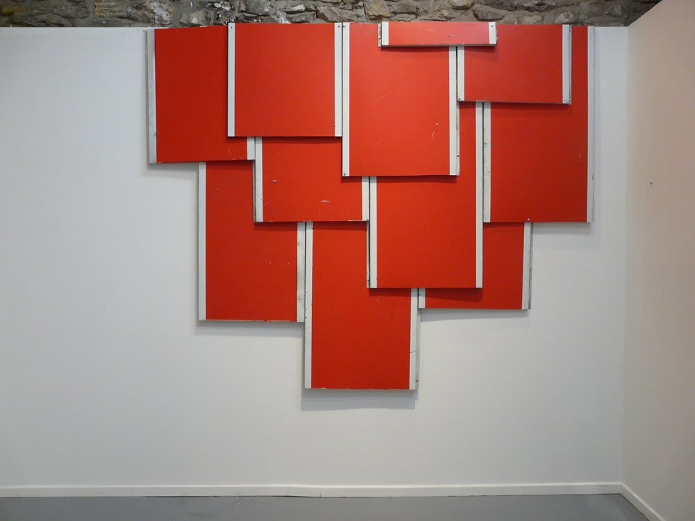 """<span class=""""link fancybox-details-link""""><a href=""""/artists/27-paul-merrick/works/5533-paul-merrick-untitled-stalactite-red-2010/"""">View Detail Page</a></span><div class=""""artist""""><strong>Paul Merrick</strong></div> <div class=""""title""""><em>Untitled ( Stalactite Red)</em>, 2010</div> <div class=""""medium"""">Aluminium, Roof bolts</div> <div class=""""dimensions"""">285 x 230 cm<br />112 1/4 x 90 1/2 in</div><div class=""""copyright_line"""">Copyright The Artist</div>"""