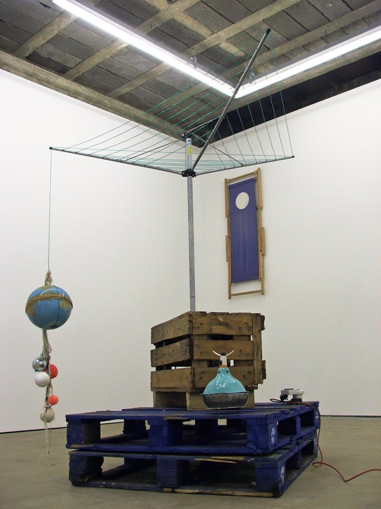<span class=&#34;link fancybox-details-link&#34;><a href=&#34;/exhibitions/15/works/artworks73/&#34;>View Detail Page</a></span><div class=&#34;medium&#34;>Washing Line, Wooden Pallets, Washing Machine Motor, Timber, Found Spheres.</div> <div class=&#34;dimensions&#34;>Dimensions Variable</div>