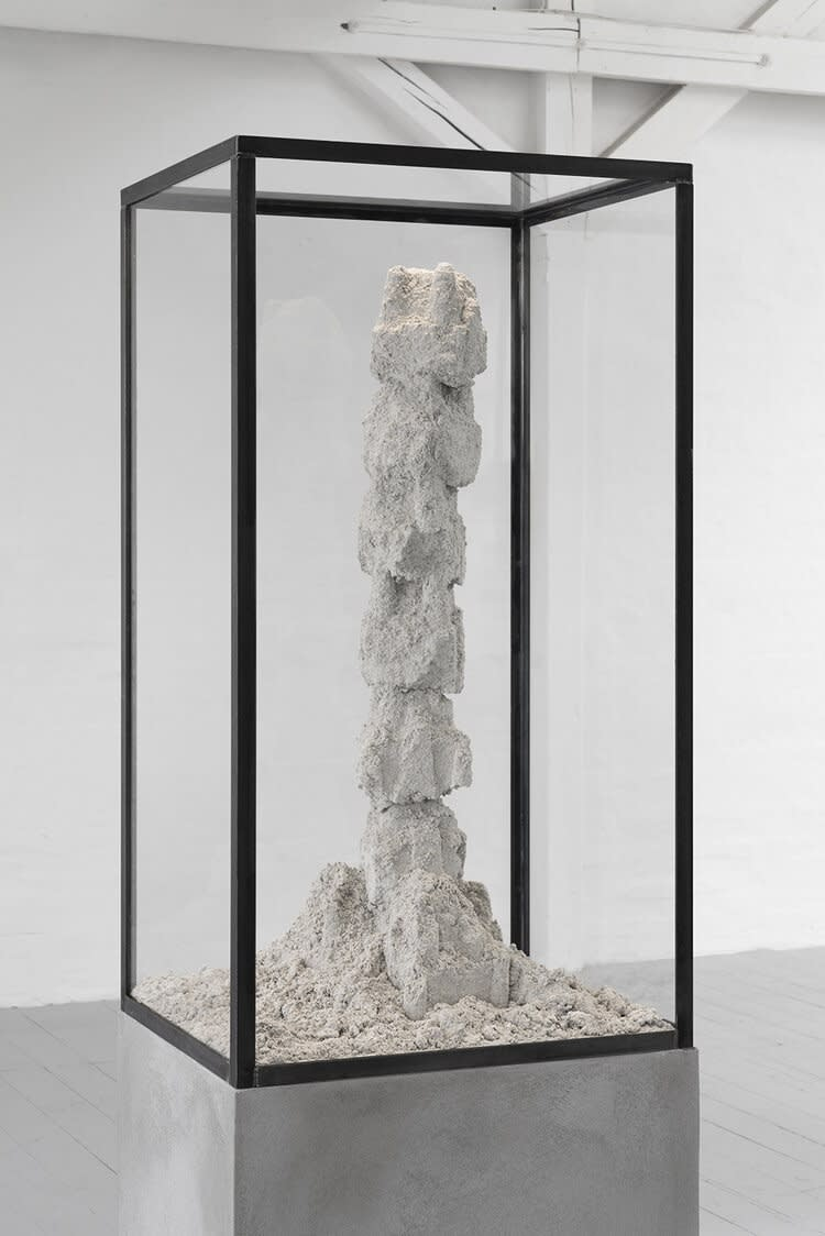 """<span class=""""link fancybox-details-link""""><a href=""""/exhibitions/17/works/image1366/"""">View Detail Page</a></span><p>Adam Jeppesen<br /><em>DK·ODE·CMT 48,6·19,</em> 2019</p><p>Cement, sand and steel sculpture</p><p>105 x 50 x 60 cm</p><p>Unique</p>"""