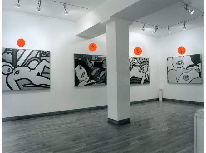 """<span class=""""link fancybox-details-link""""><a href=""""/exhibitions/168/works/image_standalone742/"""">View Detail Page</a></span><p>TOM WESSLEMANN   SIX CANVASES ON A THEME   11 SEP - 21 OCT 1998   Installation View</p>"""