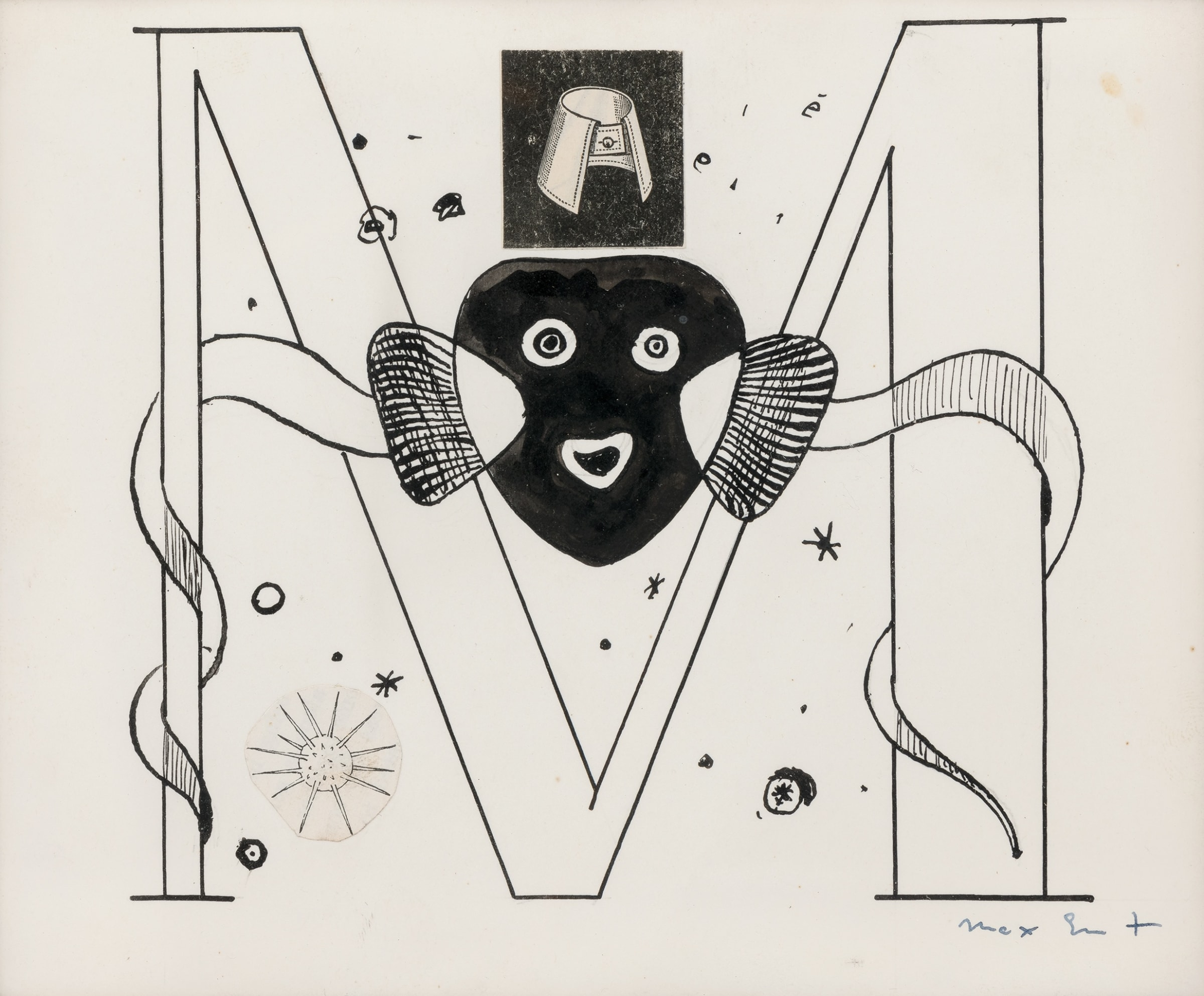 """<span class=""""link fancybox-details-link""""><a href=""""/artists/165-max-ernst/works/10516-max-ernst-initial-m-illustration-for-benjamin-peret-la-brebis-1949/"""">View Detail Page</a></span><div class=""""artist""""><span class=""""artist""""><strong>MAX ERNST</strong></span></div><div class=""""title""""><em>'Initial M' Illustration for Benjamin Péret, La Brebis Galante, Paris, 1949</em>, 1949</div><div class=""""signed_and_dated"""">Signed lower right</div><div class=""""medium"""">Collage, pen and Indian ink on paper</div><div class=""""dimensions"""">14.6 x 17.8 cm<br /> 5 ¾ x 7 inches<br /> </div>"""