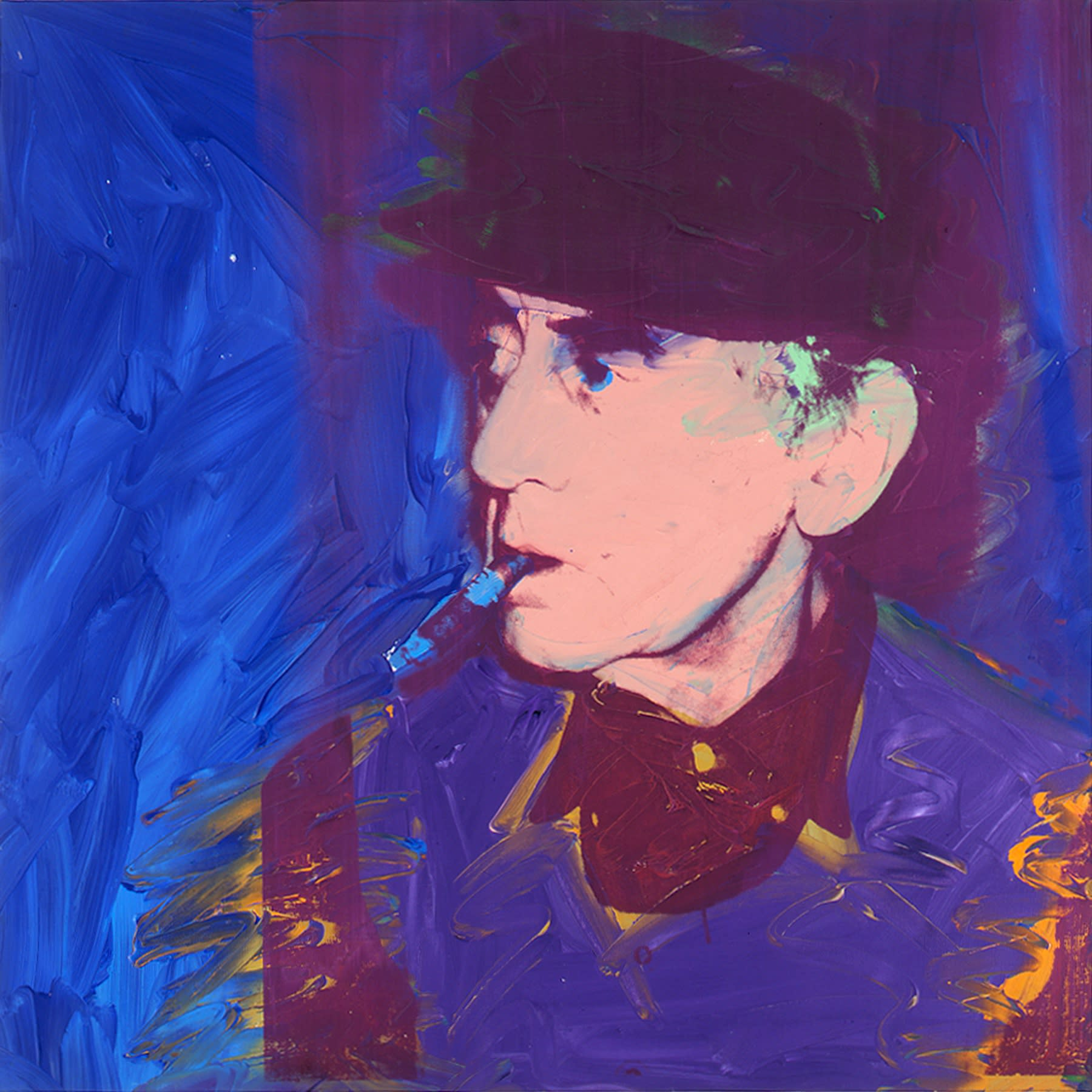 """<span class=""""link fancybox-details-link""""><a href=""""/artists/247-andy-warhol/works/11068-andy-warhol-man-ray-1974/"""">View Detail Page</a></span><div class=""""artist""""><span class=""""artist""""><strong>ANDY WARHOL</strong></span></div><div class=""""title""""><em>Man Ray</em>, 1974</div><div class=""""signed_and_dated"""">Signed and dated 1974 on the overlap</div><div class=""""medium"""">Acrylic and silkscreen on canvas</div><div class=""""dimensions"""">101.6 x 101.6 cm<br /> 40 x 40 inches</div>"""