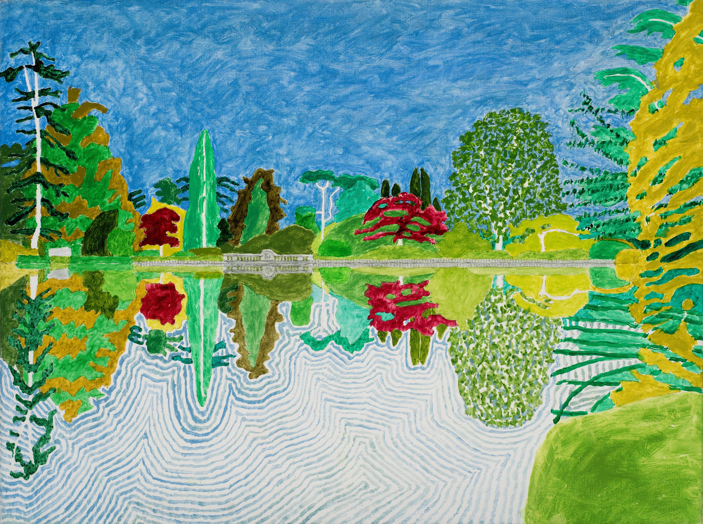 """<span class=""""link fancybox-details-link""""><a href=""""/exhibitions/12/works/image280/"""">View Detail Page</a></span><p><strong>Adrian Berg RA (1929-2011)</strong></p><p>First Lake, Sheffield Park Garden, Sussex Weald, 10th & 11th September</p><p>2002, oil on canvas, 63.5 x 81cm</p>"""