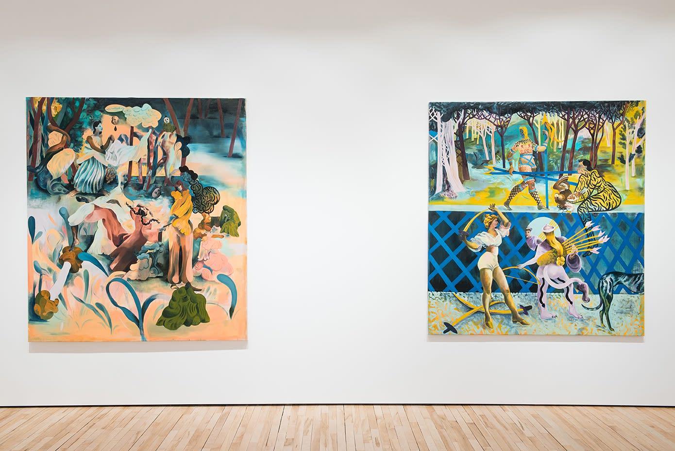 "<span class=""link fancybox-details-link""><a href=""/exhibitions/6/works/image85/"">View Detail Page</a></span><p>Jessie Makinson | Skimpy Flirt | 2017 | 190 x 170cms</p><p>Jessie Makinson | Fluffy Whistle | 2017 | 183 x 168cms</p><p>(from left)</p>"