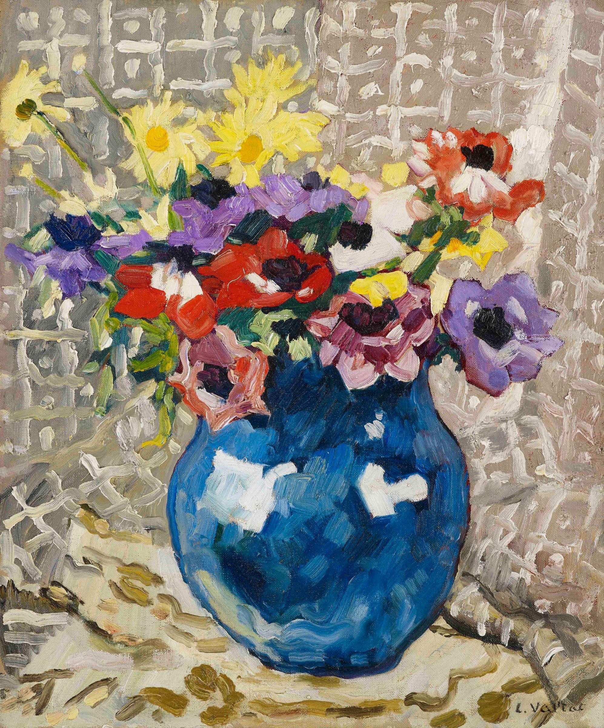 "<span class=""link fancybox-details-link""><a href=""/artists/78-louis-valtat/works/9424-louis-valtat-an-mones-et-marguerites-au-vase-bleu-1933/"">View Detail Page</a></span><div class=""artist""><span class=""artist""><strong>Louis Valtat</strong></span></div><div class=""title""><em>Anémones et marguerites au vase bleu</em>, 1933</div><div class=""signed_and_dated"">Signed lower right L.Valtat</div><div class=""medium"">Oil on canvas</div><div class=""dimensions"">55.1 x 46 cm<br /> 21 ¾ x 18 1/8 inches</div>"