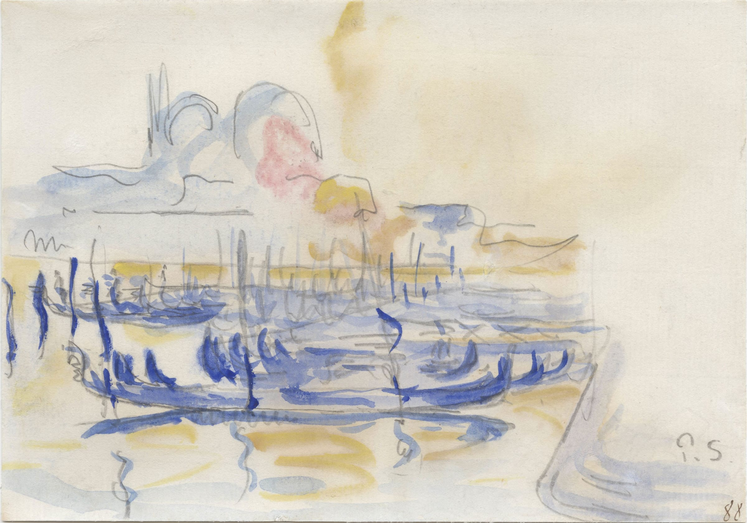 """<span class=""""link fancybox-details-link""""><a href=""""/artists/75-paul-signac/works/9421-paul-signac-vue-de-venise-1888/"""">View Detail Page</a></span><div class=""""artist""""><span class=""""artist""""><strong>Paul Signac</strong></span></div><div class=""""title""""><em>Vue de Venise</em>, 1888</div><div class=""""signed_and_dated"""">Signed and dated lower right P.S 88</div><div class=""""medium"""">Watercolour on paper</div><div class=""""dimensions"""">14 x 20 cm<br /> 5 ½ x 7 7/8 inches</div>"""