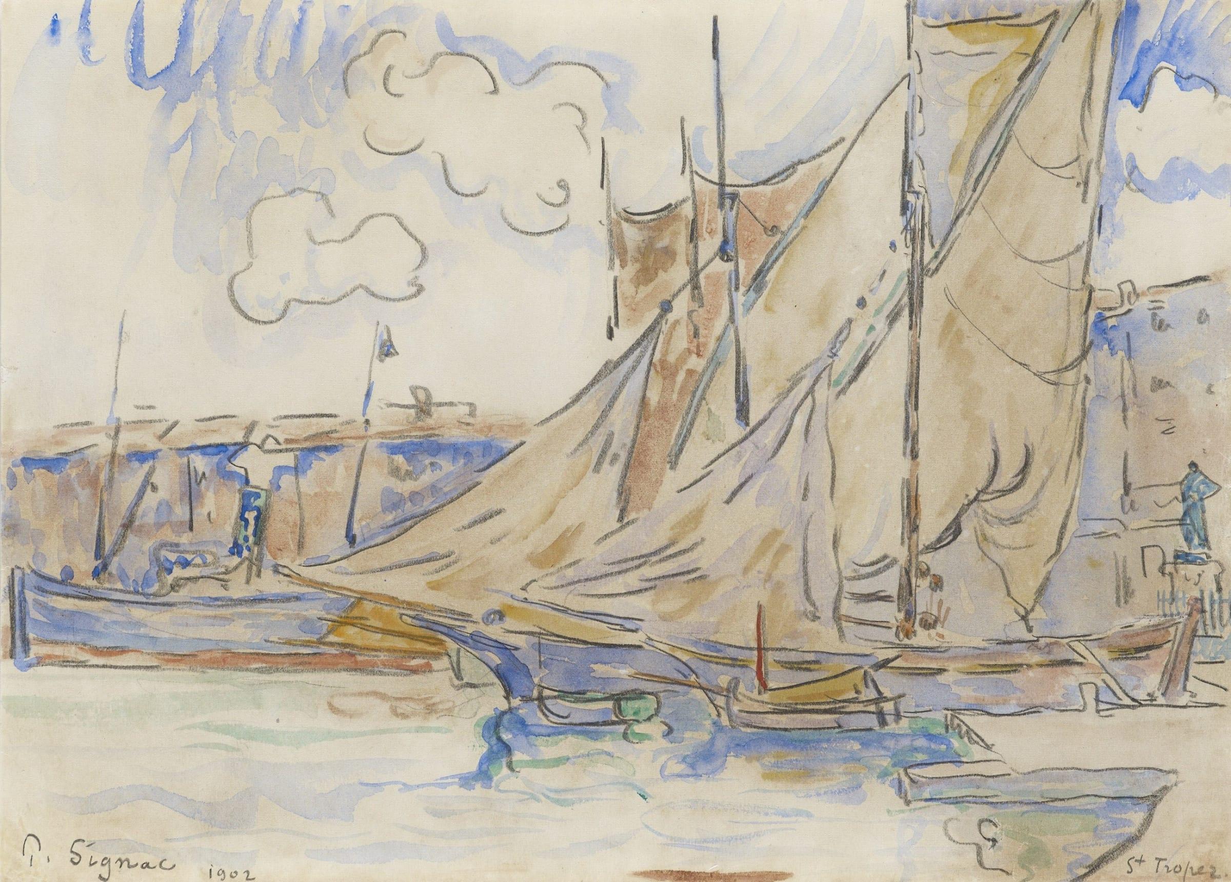 <span class=&#34;link fancybox-details-link&#34;><a href=&#34;/artists/75-paul-signac/works/9419-paul-signac-le-port-de-saint-tropez-1902/&#34;>View Detail Page</a></span><div class=&#34;artist&#34;><span class=&#34;artist&#34;><strong>Paul Signac</strong></span></div><div class=&#34;title&#34;><em>Le port de Saint-Tropez</em>, 1902</div><div class=&#34;signed_and_dated&#34;>Signed and dated lower left, P. Signac 1902 Located lower right Saint Tropez</div><div class=&#34;medium&#34;>Watercolour and pencil on paper</div><div class=&#34;dimensions&#34;>19.8 x 27.4 cm<br /> 7 3/4 x 11 13/16 inches</div>