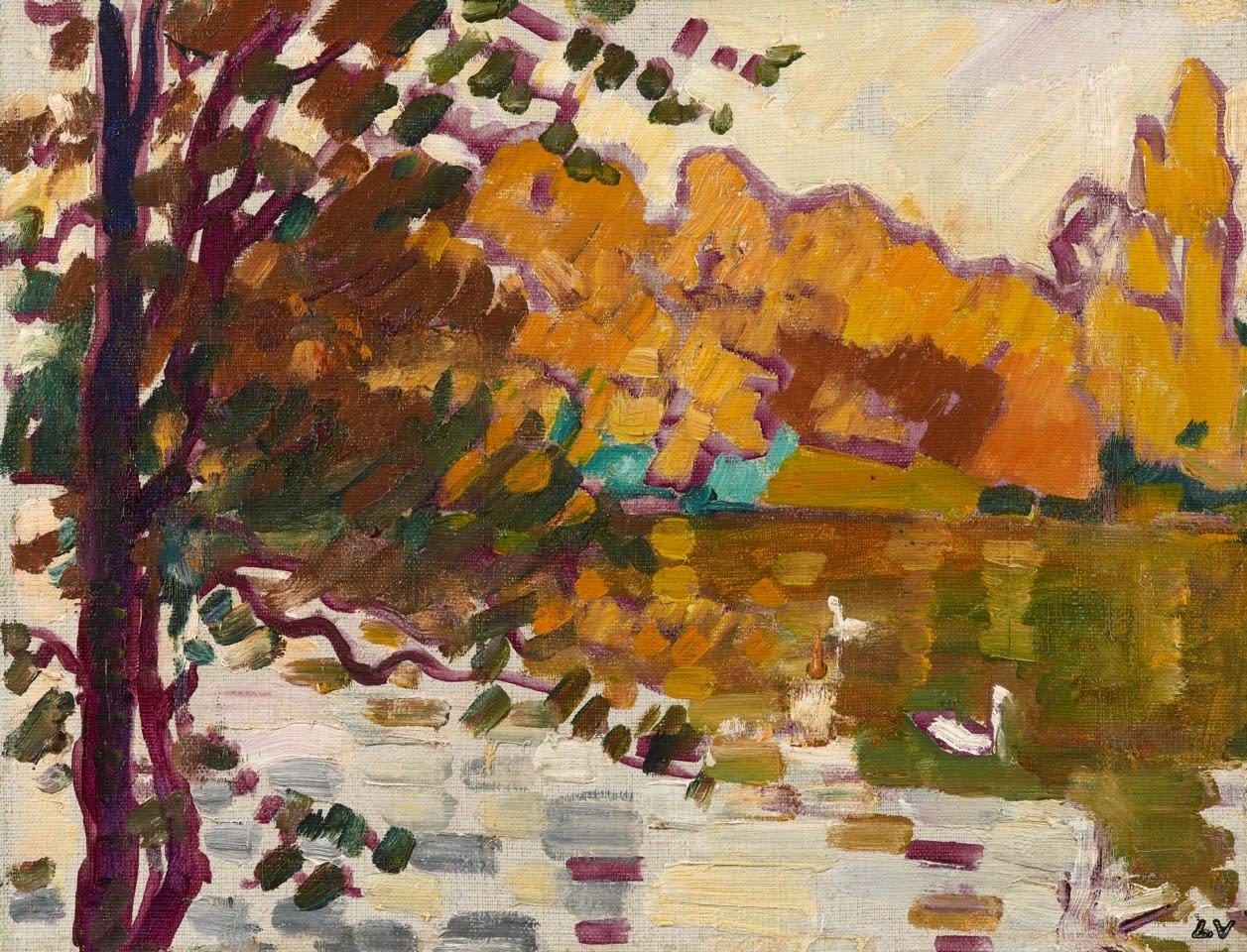 <span class=&#34;link fancybox-details-link&#34;><a href=&#34;/artists/78-louis-valtat/works/9425-louis-valtat-cygnes-au-bois-de-boulogne-1935/&#34;>View Detail Page</a></span><div class=&#34;artist&#34;><span class=&#34;artist&#34;><strong>Louis Valtat</strong></span></div><div class=&#34;title&#34;><em>Cygnes au Bois de Boulogne</em>, 1935</div><div class=&#34;signed_and_dated&#34;>Stamped with initials lower right LV</div><div class=&#34;medium&#34;>Oil on canvas</div><div class=&#34;dimensions&#34;>27 x 35 cm<br /> 10 5/8 x 13 ¾ inches</div>
