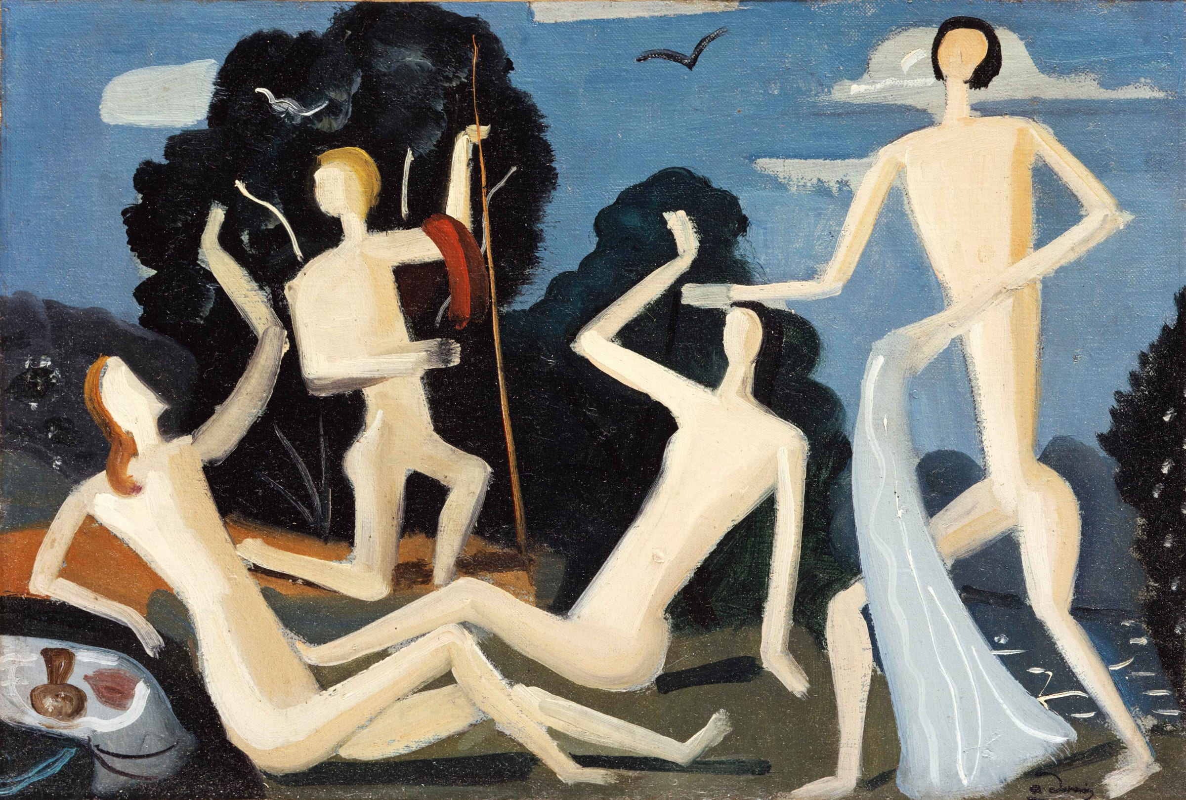 "<span class=""link fancybox-details-link""><a href=""/content/feature/34/artworks_standalone9476/"">View Detail Page</a></span><div class=""artist""><span class=""artist""><strong>André Derain</strong></span></div><div class=""title""><em>Quatre baigneuses dans un paysage</em>, c.1950-1952</div><div class=""signed_and_dated"">Stamped with the signature lower right</div><div class=""medium"">Oil on canvas</div><div class=""dimensions"">24.5 x 36.8 cm<br>10 x 14 1/2 inches</div>"