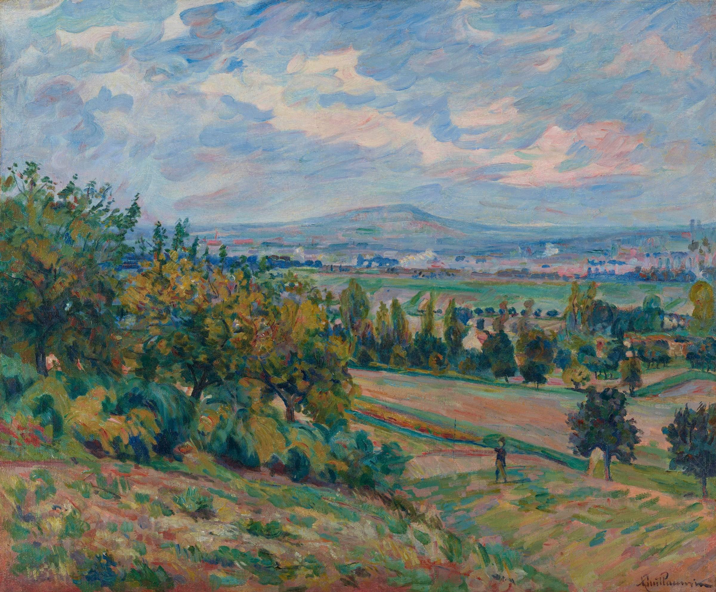 """<span class=""""link fancybox-details-link""""><a href=""""/artists/45-armand-guillaumin/works/9384-armand-guillaumin-vue-de-lhay-les-roses-ile-de-france-c.1873/"""">View Detail Page</a></span><div class=""""artist""""><span class=""""artist""""><strong>Armand Guillaumin</strong></span></div><div class=""""title""""><em>Vue de L'Haÿ-les-roses, Île-de-France</em>, c.1873</div><div class=""""signed_and_dated"""">Signed lower right</div><div class=""""medium"""">Oil on canvas</div><div class=""""dimensions"""">53.8 X 64.8 cm<br /> 21 3/16 X 25 9/16 inches</div>"""