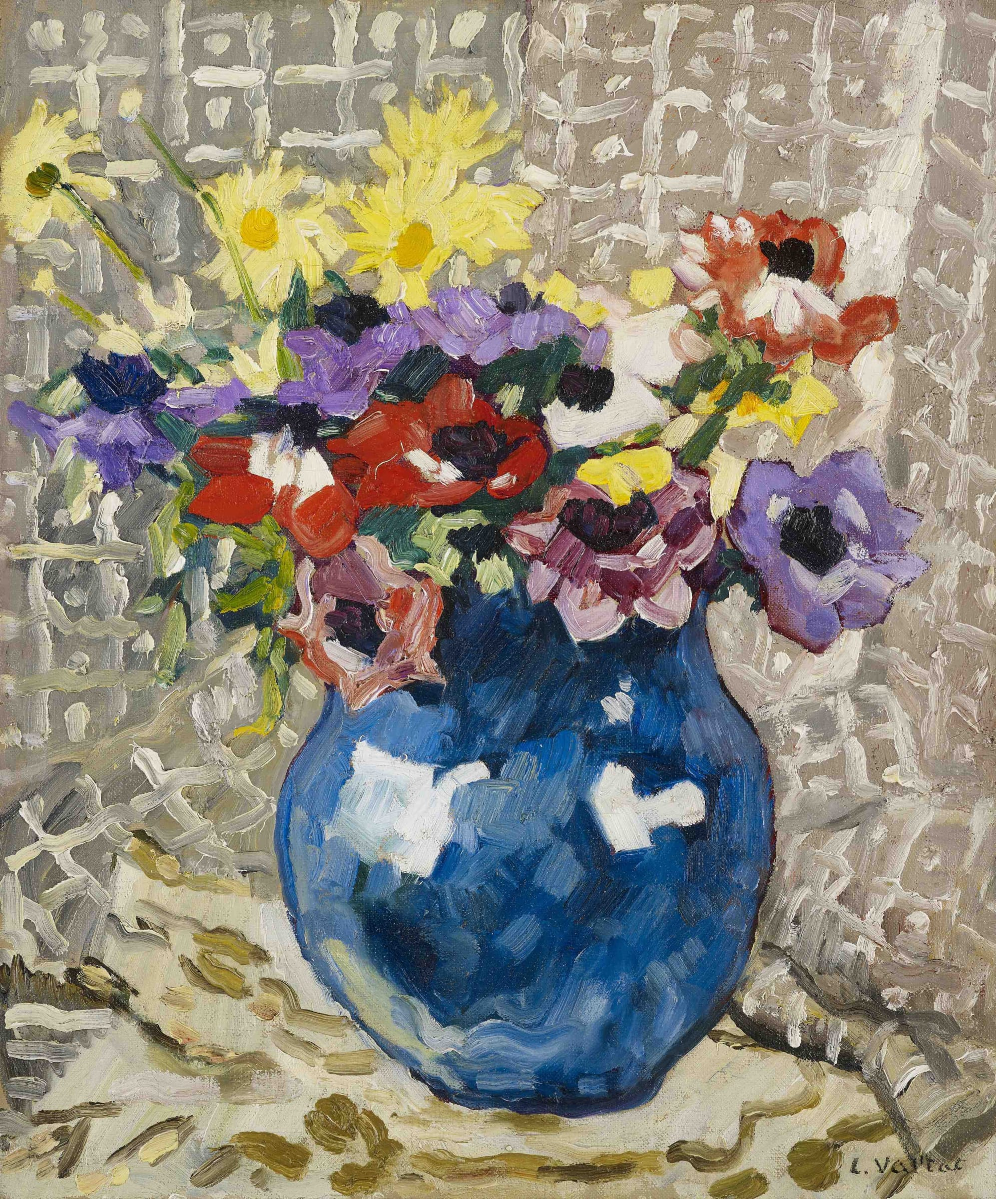 "<span class=""link fancybox-details-link""><a href=""/artists/78-louis-valtat/works/9424-louis-valtat-an-mones-et-marguerites-au-vase-bleu-1933/"">View Detail Page</a></span><div class=""artist""><span class=""artist""><strong>Louis Valtat</strong></span></div>