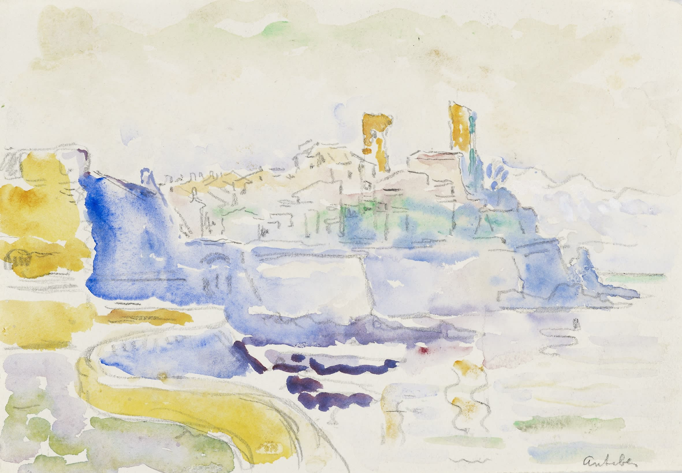 <span class=&#34;link fancybox-details-link&#34;><a href=&#34;/artists/75-paul-signac/works/9422-paul-signac-vue-d-antibes-1918-1919/&#34;>View Detail Page</a></span><div class=&#34;artist&#34;><span class=&#34;artist&#34;><strong>Paul Signac</strong></span></div><div class=&#34;title&#34;><em>Vue d'Antibes</em>, 1918-1919</div><div class=&#34;signed_and_dated&#34;>Located lower right 'antibes'</div><div class=&#34;medium&#34;>Watercolour and pencil on paper</div><div class=&#34;dimensions&#34;>17.5 x 24.4 cm<br /> 6 7/8 x 8 ¼ inches<br /> </div>