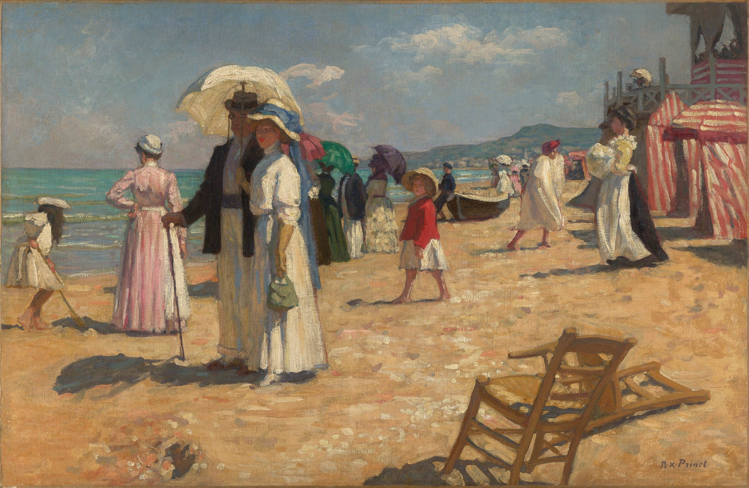 """<span class=""""link fancybox-details-link""""><a href=""""/artists/92-rene-francois-xavier-prinet/works/9469-rene-francois-xavier-prinet-la-plage-cabourg-1908/"""">View Detail Page</a></span><div class=""""artist""""><span class=""""artist""""><strong>René-François Xavier Prinet</strong></span></div><div class=""""title""""><em>La Plage, Cabourg</em>, 1908</div><div class=""""signed_and_dated"""">Signed lower right</div><div class=""""medium"""">Oil on canvas</div><div class=""""dimensions"""">60 x 93 cm<br /> 23 5/8 x 36 5/8 inches</div>"""