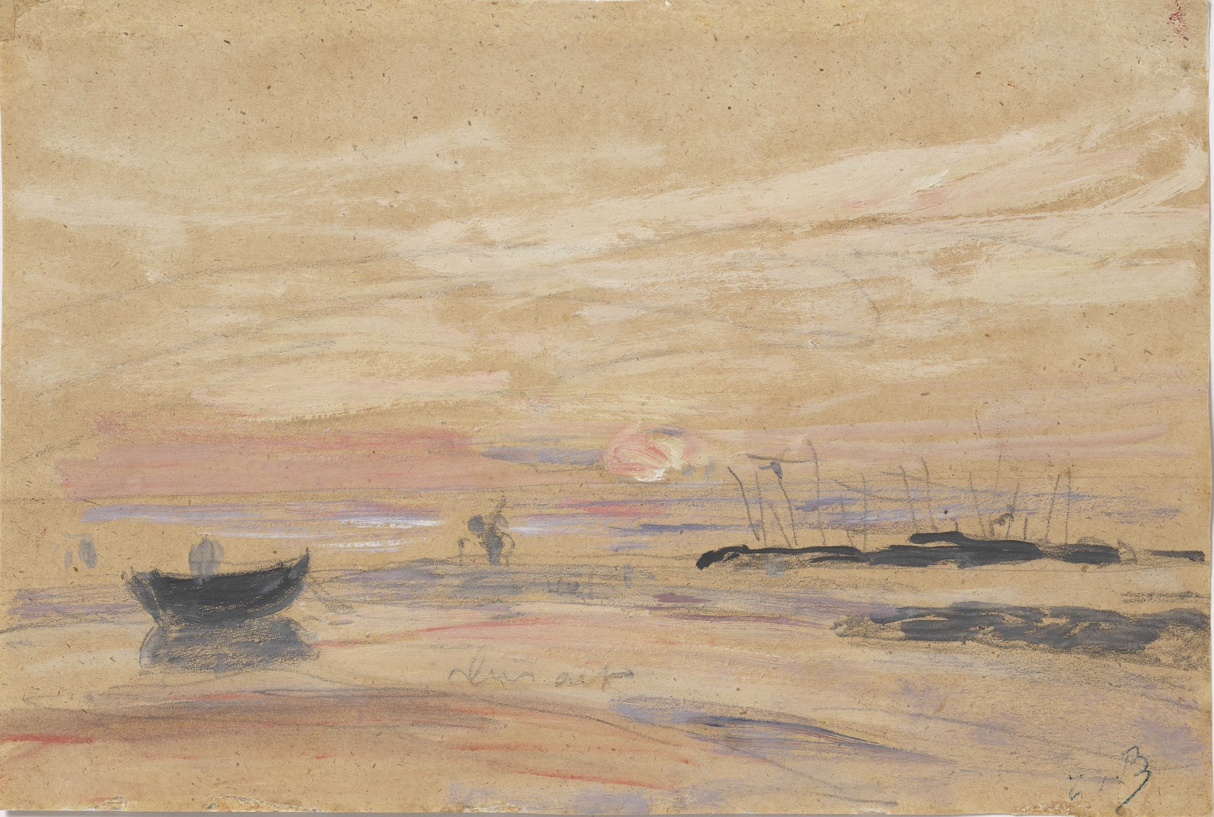 <span class=&#34;link fancybox-details-link&#34;><a href=&#34;/artists/29-eugne-boudin/works/9437-eug-ne-boudin-coucher-de-soleil-sur-le-rivage-c.-1885-1890/&#34;>View Detail Page</a></span><div class=&#34;artist&#34;><span class=&#34;artist&#34;><strong>Eugène Boudin</strong></span></div><div class=&#34;title&#34;><em>Coucher de soleil sur le rivage</em>, c. 1885-1890</div><div class=&#34;signed_and_dated&#34;>Stamped with the initials lower right</div><div class=&#34;medium&#34;>Oil and pencil on paper</div><div class=&#34;dimensions&#34;>14.6 x 21.8 cm<br /> 5 11/16 x 8 9/16 inches</div>