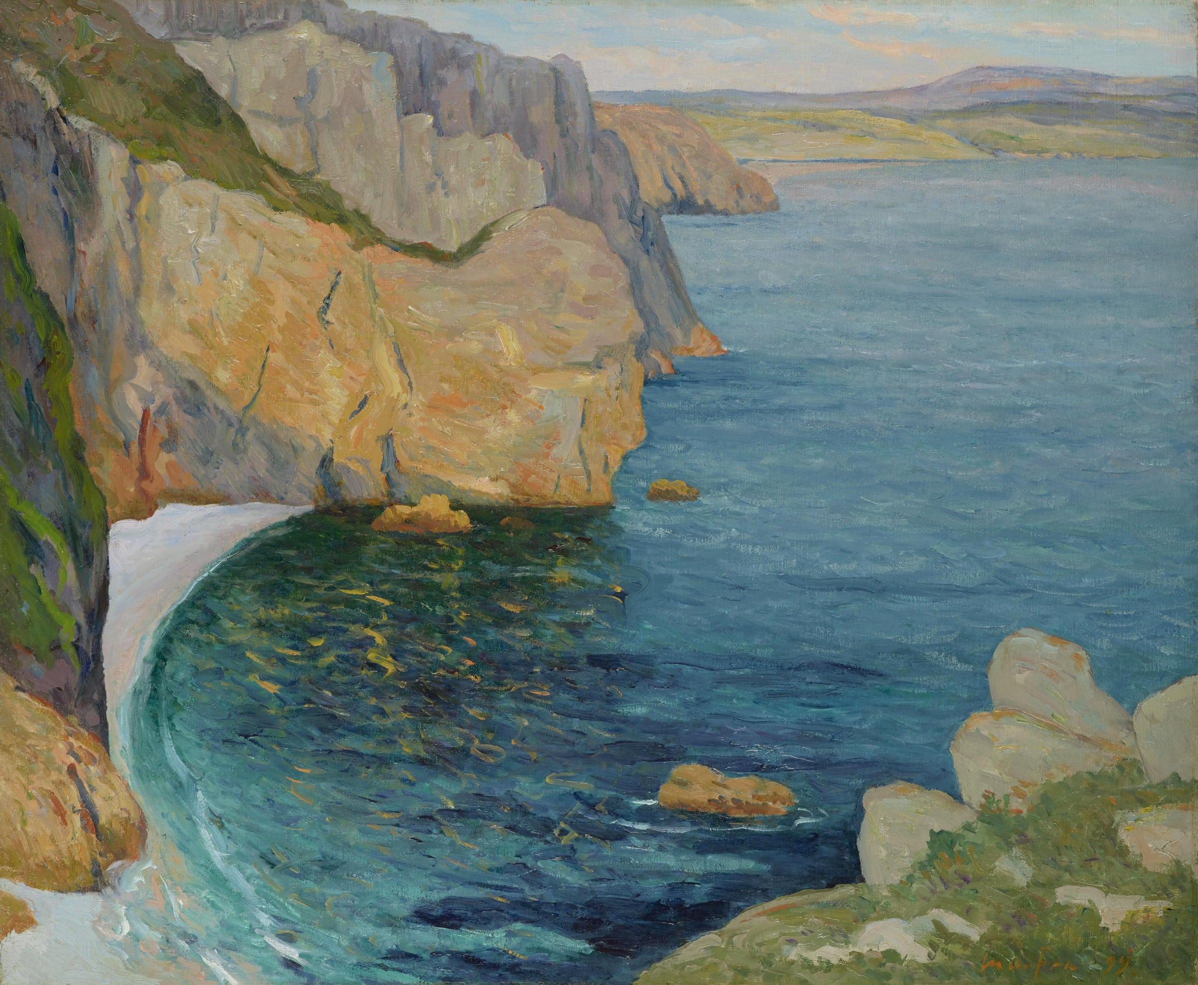 <span class=&#34;link fancybox-details-link&#34;><a href=&#34;/artists/64-maxime-maufra/works/9407-maxime-maufra-calme-d-t-baie-de-douarnenez-1899/&#34;>View Detail Page</a></span><div class=&#34;artist&#34;><span class=&#34;artist&#34;><strong>Maxime Maufra</strong></span></div><div class=&#34;title&#34;><em>Calme d'été, baie de Douarnenez</em>, 1899</div><div class=&#34;signed_and_dated&#34;>Signed and dated lower right</div><div class=&#34;medium&#34;>Oil on canvas</div><div class=&#34;dimensions&#34;>60.3 x 81 cm<br /> 23 3/4 x 31 ½ inches</div>