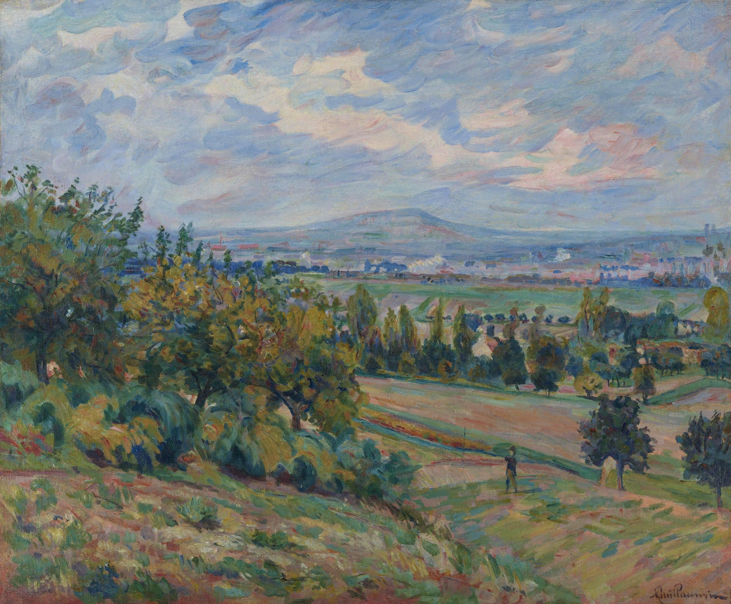 """<span class=""""link fancybox-details-link""""><a href=""""/artists/45-armand-guillaumin/works/9384-armand-guillaumin-vue-de-l-ha-les-roses-le-de-france-c.1873/"""">View Detail Page</a></span><div class=""""artist""""><span class=""""artist""""><strong>Armand Guillaumin</strong></span></div><div class=""""title""""><em>Vue de L'Haÿ-les-roses, Île-de-France</em>, c.1873</div><div class=""""signed_and_dated"""">Signed lower right</div><div class=""""medium"""">Oil on canvas</div><div class=""""dimensions"""">53.8 X 64.8 cm<br /> 21 3/16 X 25 9/16 inches</div>"""