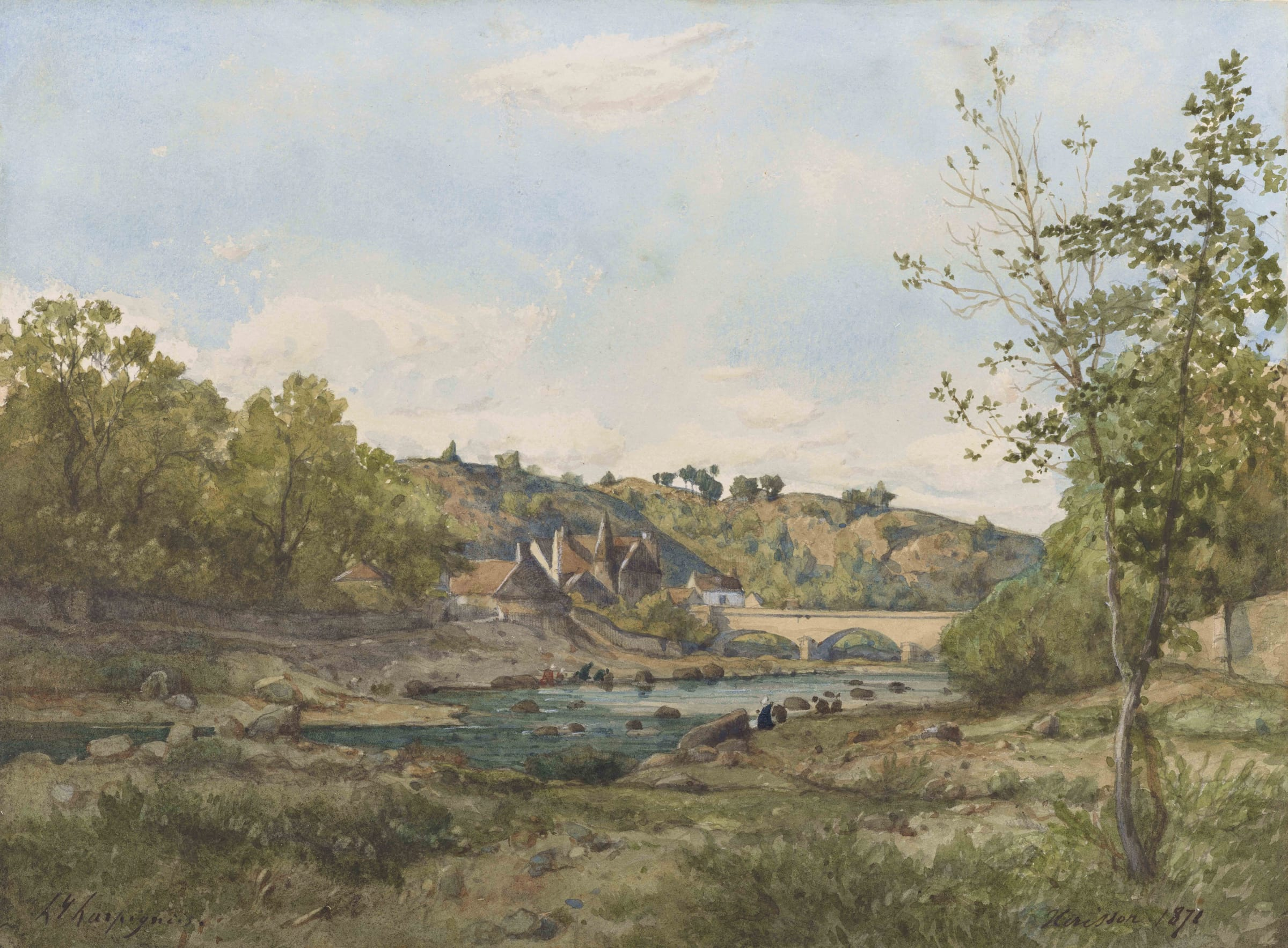 """<span class=&#34;link fancybox-details-link&#34;><a href=&#34;/artists/47-henri-joseph-harpignies/works/9392-henri-joseph-harpignies-vue-d-h-risson-1871/&#34;>View Detail Page</a></span><div class=&#34;artist&#34;><span class=&#34;artist&#34;><strong>Henri Joseph Harpignies</strong></span></div><div class=&#34;title&#34;><em>Vue d'Hérisson</em>, 1871</div><div class=&#34;signed_and_dated&#34;>Signed """"hjharpignies"""" Dated lower right 'Hérisson 1871'</div><div class=&#34;medium&#34;>Watercolour and pencil on paper</div><div class=&#34;dimensions&#34;>25 x 33 cm<br /> 9 ½ x 13 inches</div>"""