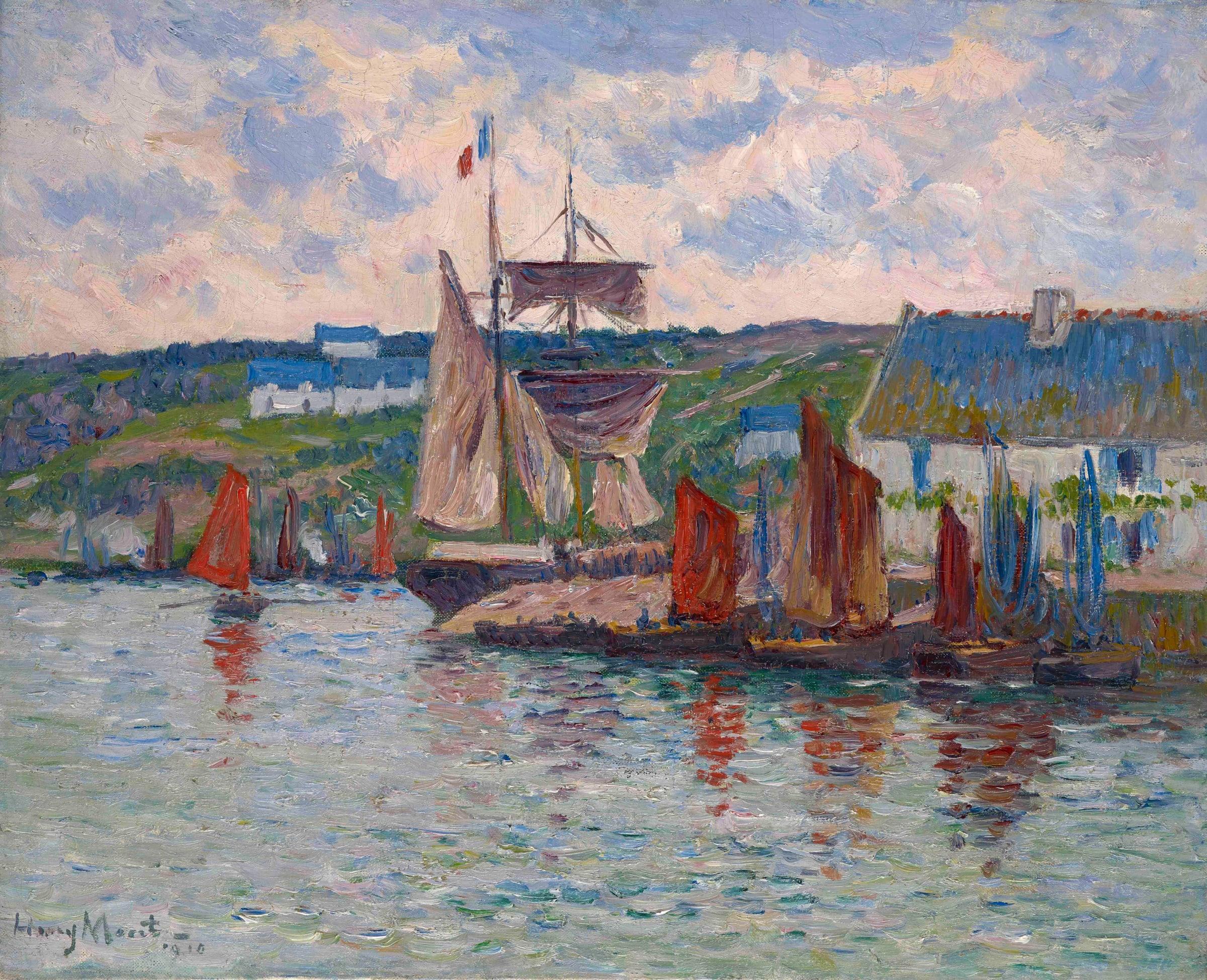 "<span class=""link fancybox-details-link""><a href=""/artists/69-henry-moret/works/9413-henry-moret-port-en-bretagne-1910/"">View Detail Page</a></span><div class=""artist""><span class=""artist""><strong>Henry Moret</strong></span></div><div class=""title""><em>Port en Bretagne</em>, 1910</div><div class=""signed_and_dated"">Signed and dated lower left Henry Moret 1910</div><div class=""medium"">Oil on canvas</div><div class=""dimensions"">33.1 x 40.5 cm<br /> 13 x 15 15/16 inches</div>"
