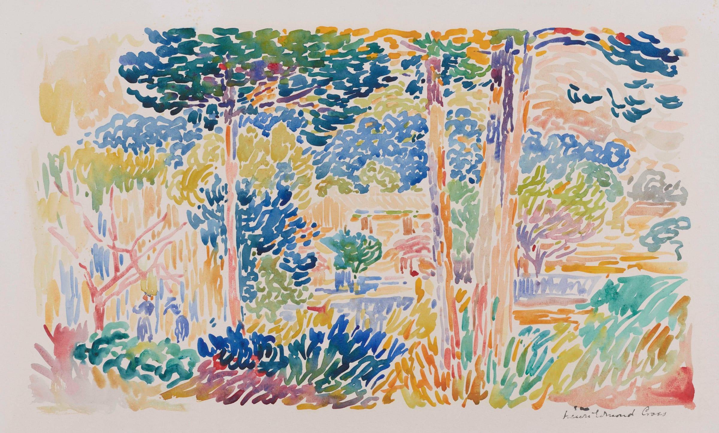"""<span class=""""link fancybox-details-link""""><a href=""""/artists/33-henri-edmond-cross/works/9382-henri-edmond-cross-pins-au-bord-de-la-m-diterran-e-c.a-1905/"""">View Detail Page</a></span><div class=""""artist""""><span class=""""artist""""><strong>Henri-Edmond Cross</strong></span></div><div class=""""title""""><em>Pins au bord de la Méditerranée</em>, c.a 1905</div><div class=""""signed_and_dated"""">Signed lower right Henri Edmond Cross</div><div class=""""medium"""">Watercolour</div><div class=""""dimensions"""">29.5 x 43.5 cm<br /> 11 5/8 x 17 1/8 inches</div>"""