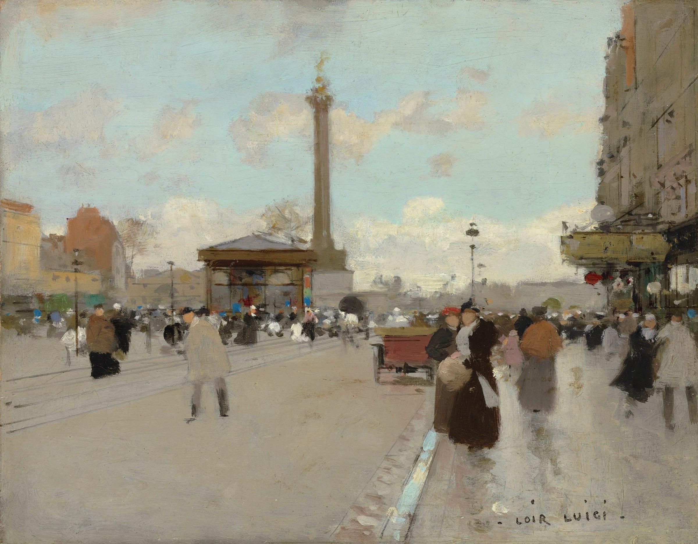 <span class=&#34;link fancybox-details-link&#34;><a href=&#34;/artists/59-luigi-loir/works/9400-luigi-loir-place-de-la-bastille-paris/&#34;>View Detail Page</a></span><div class=&#34;artist&#34;><span class=&#34;artist&#34;><strong>Luigi Loir</strong></span></div><div class=&#34;title&#34;><em>Place de la Bastille, Paris</em></div><div class=&#34;signed_and_dated&#34;>Signed lower right Loir Luigi</div><div class=&#34;medium&#34;>Oil on board laid down on panel</div><div class=&#34;dimensions&#34;>19.6 x 25 cm<br /> 7 ¾ x 9 7/8 inches</div>