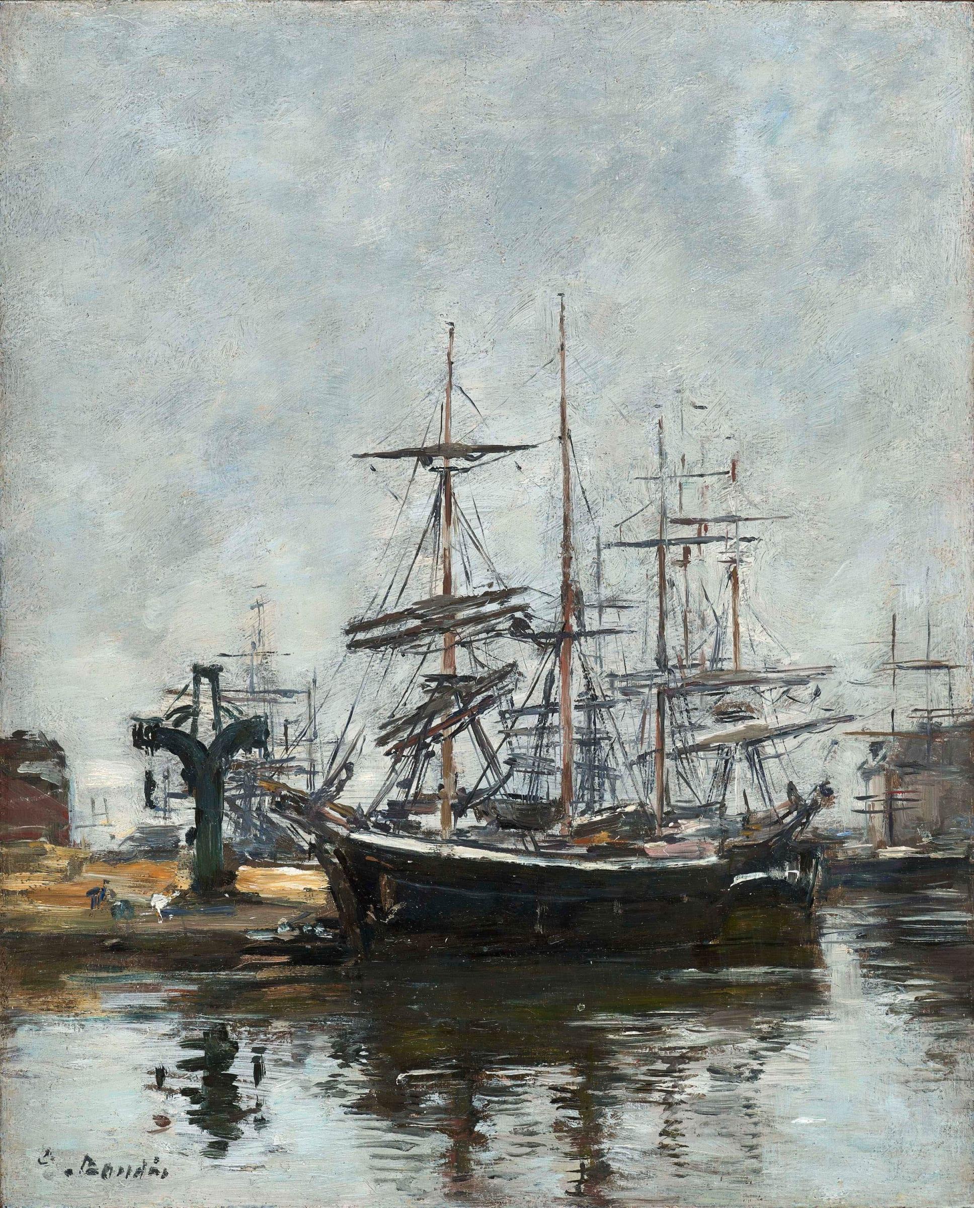 "<span class=""link fancybox-details-link""><a href=""/artists/29-eugene-boudin/works/9376-eugene-boudin-le-havre-voiliers-a-quai-bassin-de-la-c.-1885-1890/"">View Detail Page</a></span><div class=""artist""><span class=""artist""><strong>Eugène Boudin</strong></span></div><div class=""title""><em>Le Havre, voiliers à quai, bassin de la Barre</em>, c. 1885-1890</div><div class=""signed_and_dated"">Signed lower left</div><div class=""medium"">Oil on board</div><div class=""dimensions"">26.5 x 21.5 cm<br /> 10 ½ x 8 ½ inches</div>"