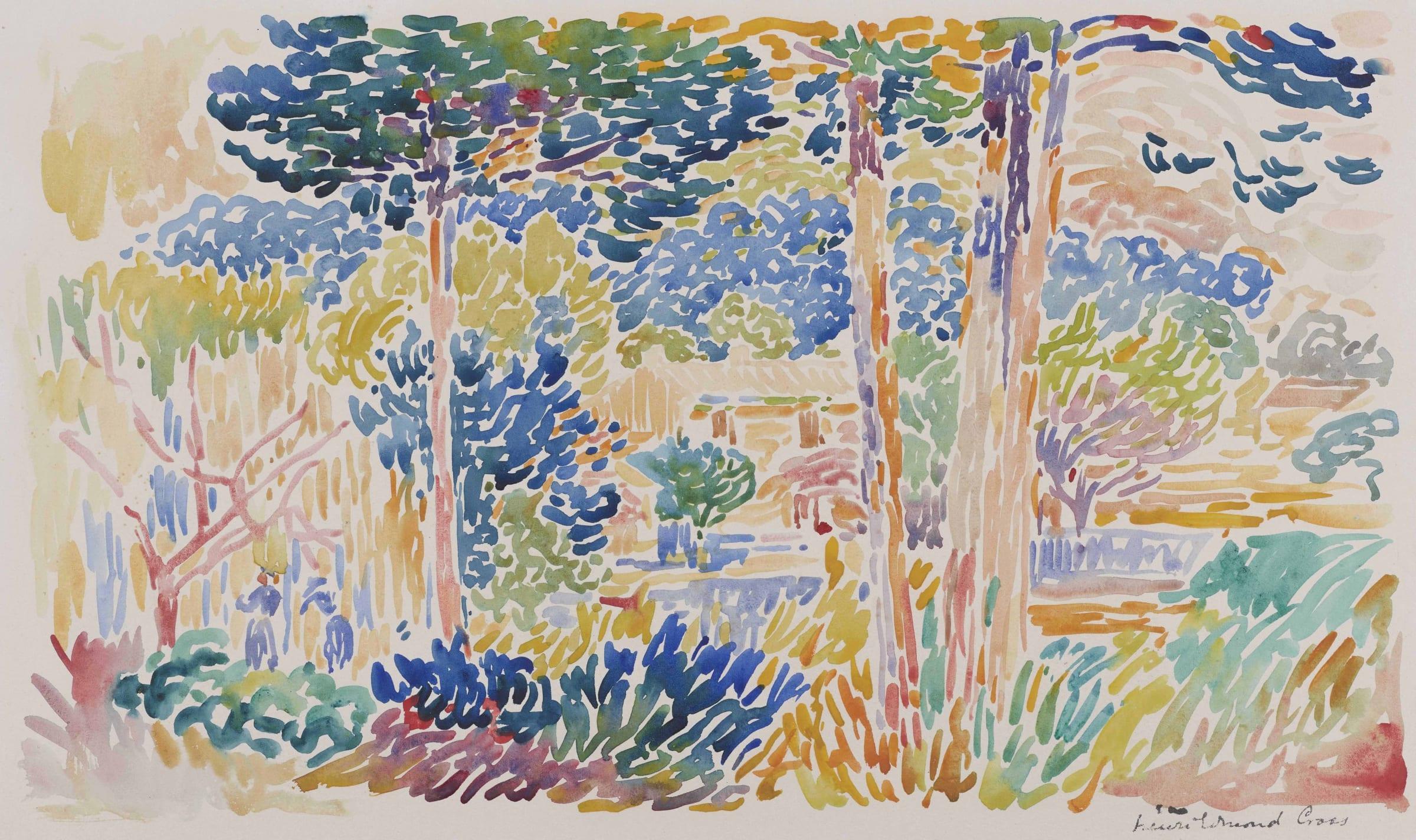 <span class=&#34;link fancybox-details-link&#34;><a href=&#34;/artists/33-henri-edmond-cross/works/9382-henri-edmond-cross-pins-au-bord-de-la-m-diterran-e-c.a-1905/&#34;>View Detail Page</a></span><div class=&#34;artist&#34;><span class=&#34;artist&#34;><strong>Henri-Edmond Cross</strong></span></div><div class=&#34;title&#34;><em>Pins au bord de la Méditerranée</em>, c.a 1905</div><div class=&#34;signed_and_dated&#34;>Signed lower right Henri Edmond Cross</div><div class=&#34;medium&#34;>Watercolour</div><div class=&#34;dimensions&#34;>29.5 x 43.5 cm<br /> 11 5/8 x 17 1/8 inches</div>