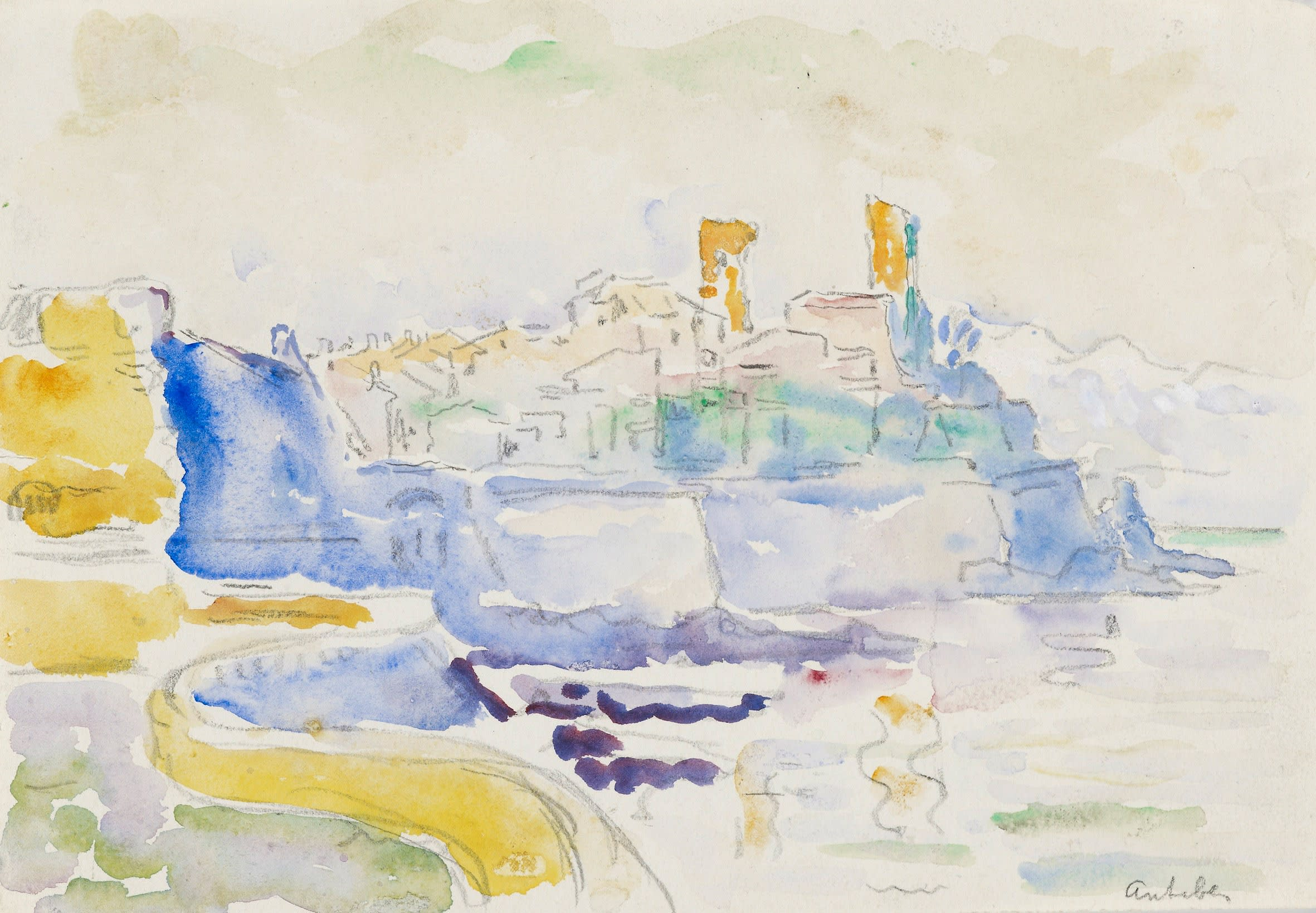 """<span class=""""link fancybox-details-link""""><a href=""""/artists/75-paul-signac/works/9422-paul-signac-vue-d-antibes-1918-1919/"""">View Detail Page</a></span><div class=""""artist""""><span class=""""artist""""><strong>Paul Signac</strong></span></div><div class=""""title""""><em>Vue d'Antibes</em>, 1918-1919</div><div class=""""signed_and_dated"""">Located lower right 'antibes'</div><div class=""""medium"""">Watercolour and pencil on paper</div><div class=""""dimensions"""">17.5 x 24.4 cm<br /> 6 7/8 x 8 ¼ inches<br /> </div>"""
