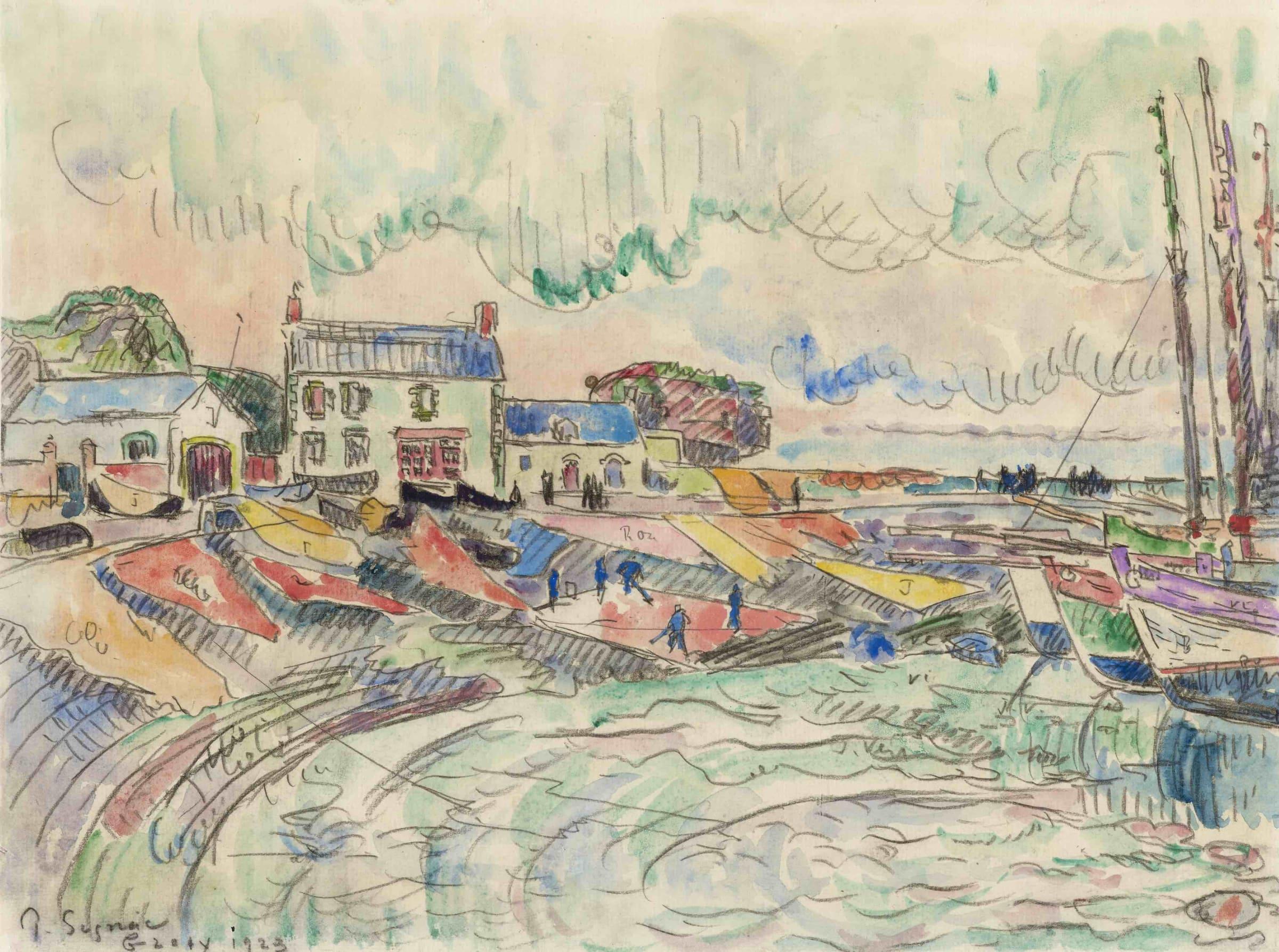 <span class=&#34;link fancybox-details-link&#34;><a href=&#34;/artists/75-paul-signac/works/9420-paul-signac-ile-de-groix-le-nettoyage-des-voiles.-1923/&#34;>View Detail Page</a></span><div class=&#34;artist&#34;><span class=&#34;artist&#34;><strong>Paul Signac</strong></span></div><div class=&#34;title&#34;><em>Ile de Groix, le nettoyage des voiles.</em>, 1923</div><div class=&#34;signed_and_dated&#34;>Signed, titled and dated lower left</div><div class=&#34;medium&#34;>Watercolour and pencil on paper</div><div class=&#34;dimensions&#34;>27.7 x 37.2 cm<br /> 10 7/8 x 14 5/8 inches</div>