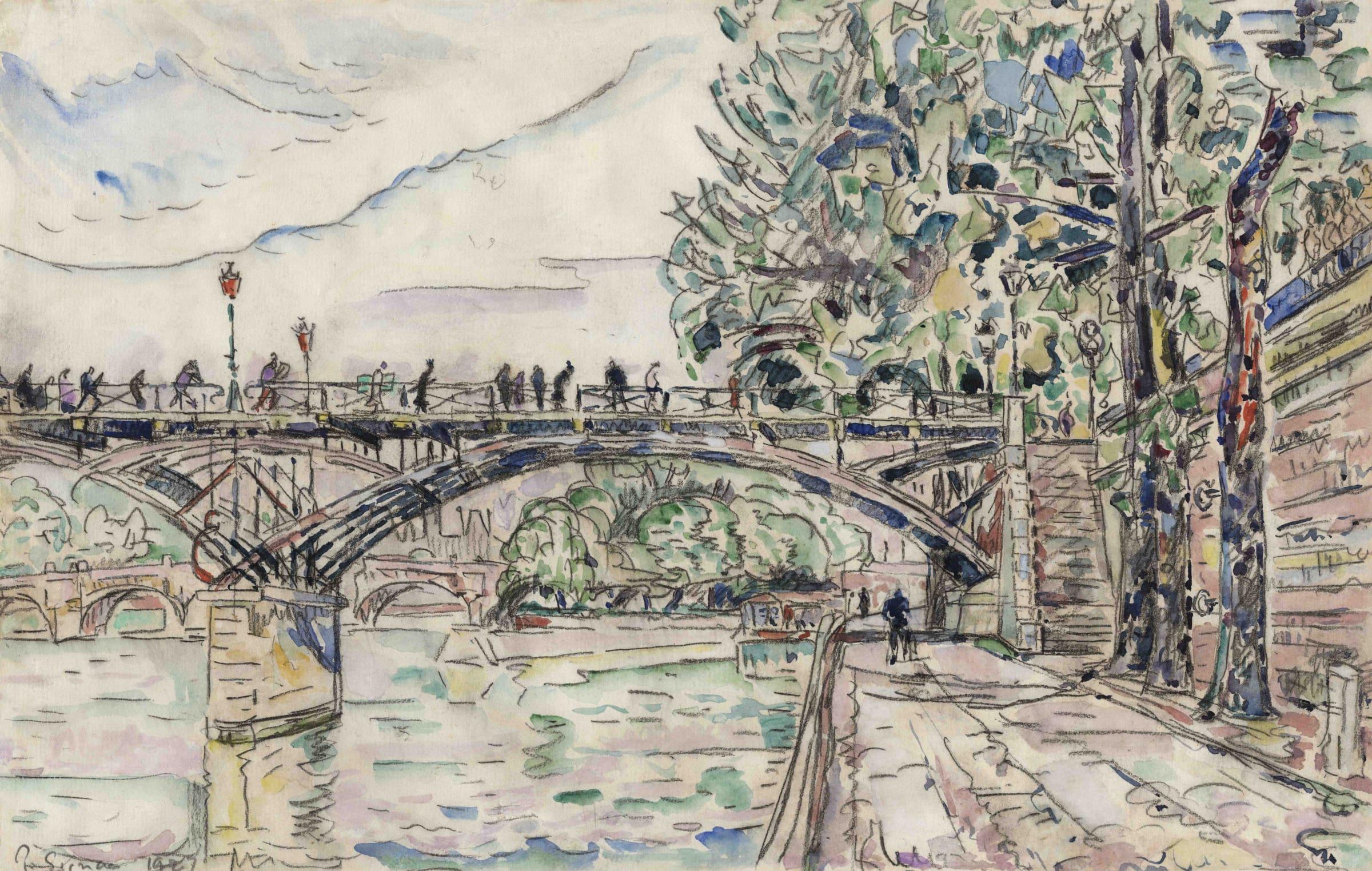 <span class=&#34;link fancybox-details-link&#34;><a href=&#34;/artists/75-paul-signac/works/9418-paul-signac-paris-le-pont-des-arts-1927/&#34;>View Detail Page</a></span><div class=&#34;artist&#34;><span class=&#34;artist&#34;><strong>Paul Signac</strong></span></div><div class=&#34;title&#34;><em>Paris, le Pont des Arts</em>, 1927</div><div class=&#34;signed_and_dated&#34;>Signed and dated lower left P.Signac 1927</div><div class=&#34;medium&#34;>Watercolour, gouache and charcoal on paper</div><div class=&#34;dimensions&#34;>27.8 x 43.8 cm<br /> 11 x 17 ¼ inches</div>