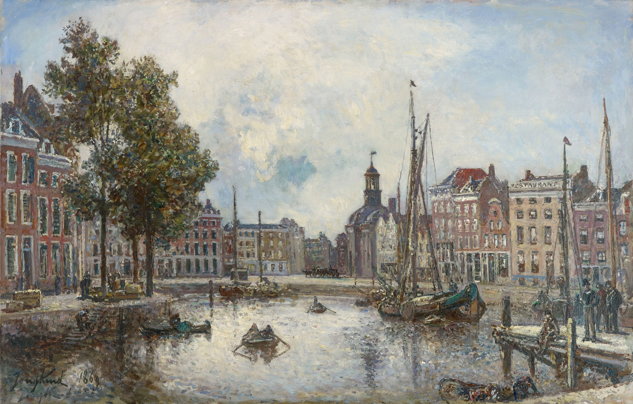 """<span class=""""link fancybox-details-link""""><a href=""""/artists/53-johan-barthold-jongkind/works/9397-johan-barthold-jongkind-le-port-de-rotterdam-le-matin-vue-sur-1869/"""">View Detail Page</a></span><div class=""""artist""""><span class=""""artist""""><strong>Johan-Barthold Jongkind</strong></span></div><div class=""""title""""><em>Le port de Rotterdam, le matin; vue sur la Bourse,</em>, 1869</div><div class=""""signed_and_dated"""">Signed and dated lower left Jongkind 1869</div><div class=""""medium"""">Oil on canvas</div><div class=""""dimensions"""">52 x 81 cm<br /> 20 ½ x 31 7/8 inches</div>"""