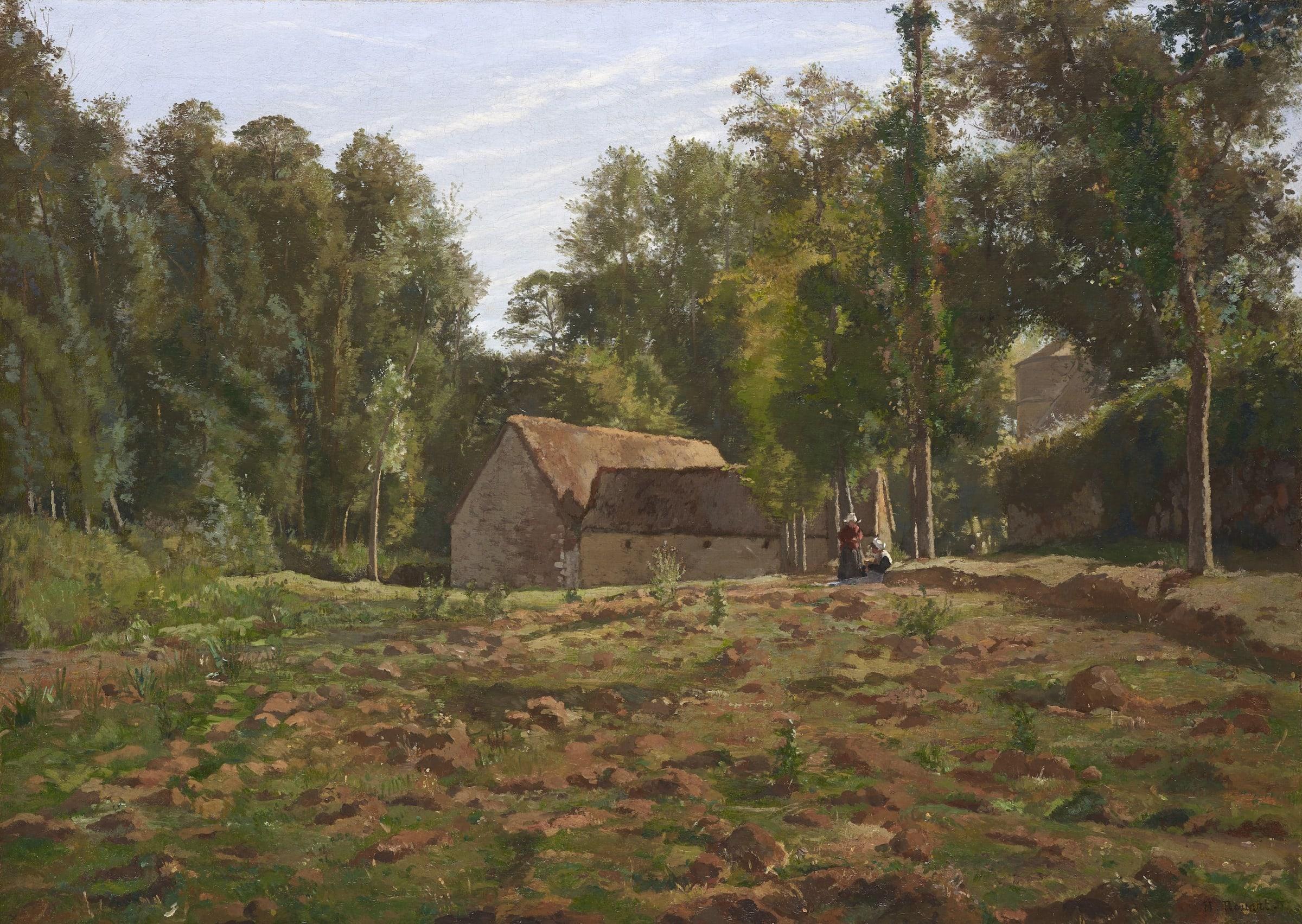 """<span class=""""link fancybox-details-link""""><a href=""""/artists/73-henri-rouart/works/9416-henri-rouart-paysannes-la-ferme-c.a-1885/"""">View Detail Page</a></span><div class=""""artist""""><span class=""""artist""""><strong>Henri Rouart</strong></span></div><div class=""""title""""><em>Paysannes à la Ferme,</em>, c.a 1885</div><div class=""""signed_and_dated"""">Signed lower right H. Rouart</div><div class=""""medium"""">Oil on canvas</div><div class=""""dimensions"""">65.9 x 92.2 cm<br /> 26 x 36 3/8 inches</div>"""
