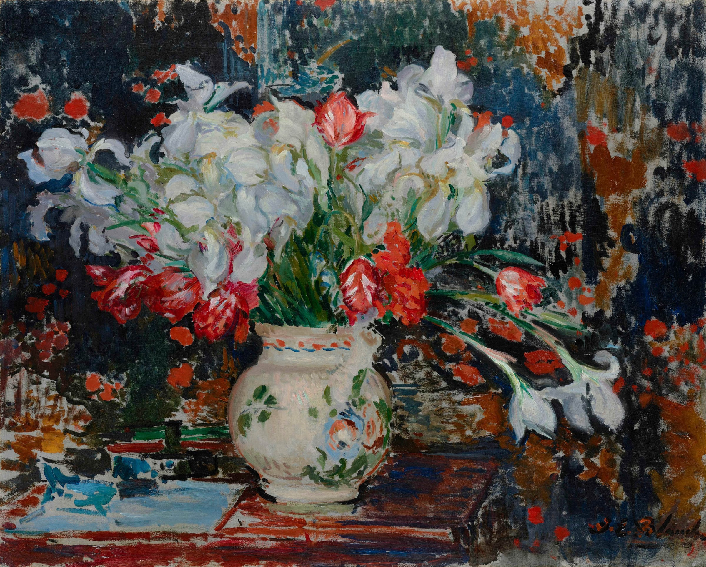 "<span class=""link fancybox-details-link""><a href=""/artists/27-jacques-emile-blanche/works/9375-jacques-emile-blanche-bouquet-d-iris-blanches-et-de-tulipes-rouges-c.1911/"">View Detail Page</a></span><div class=""artist""><span class=""artist""><strong>Jacques-Emile Blanche</strong></span></div>