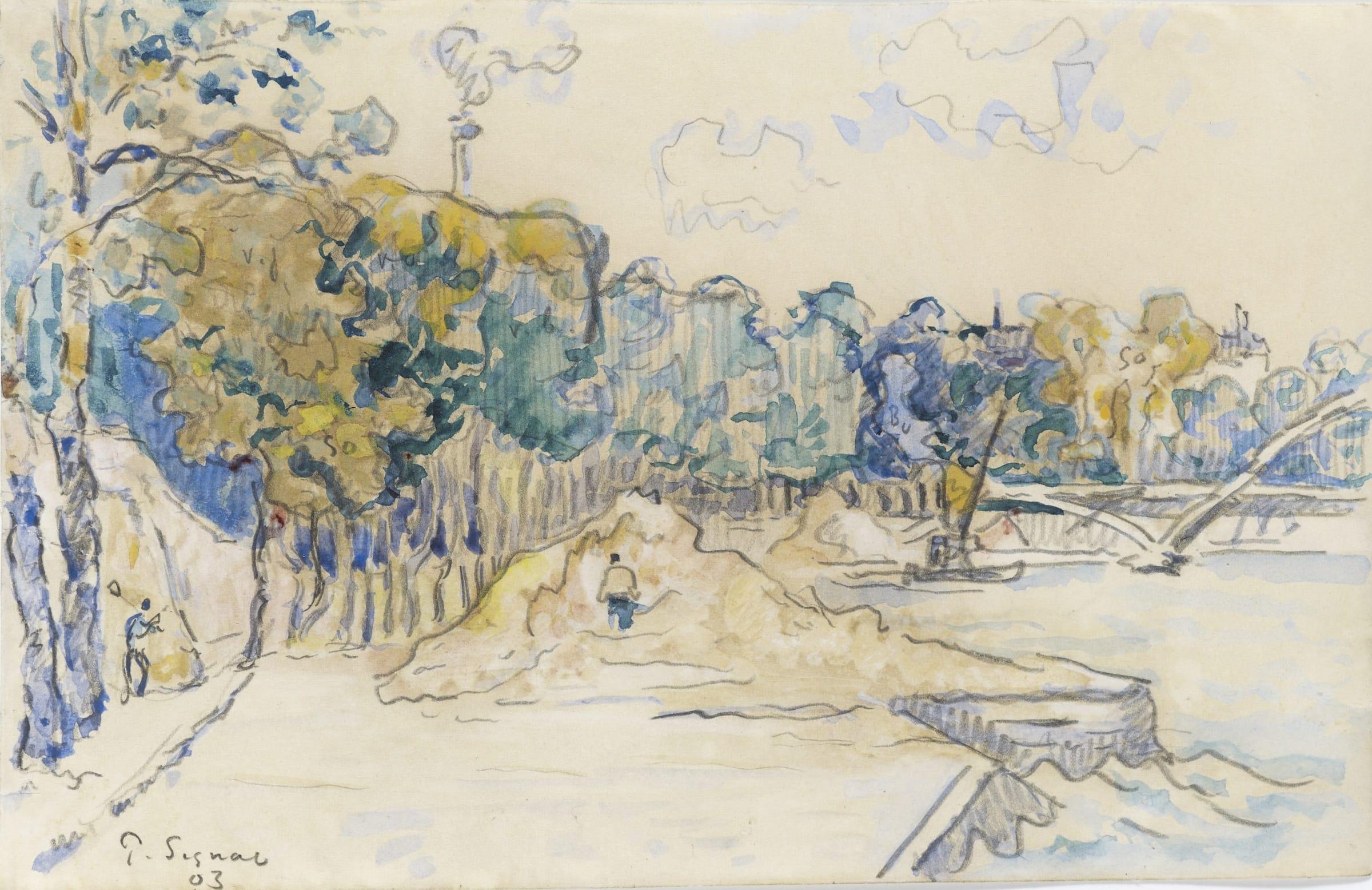 <span class=&#34;link fancybox-details-link&#34;><a href=&#34;/artists/75-paul-signac/works/9417-paul-signac-paris-la-passerelle-debilly-1903/&#34;>View Detail Page</a></span><div class=&#34;artist&#34;><span class=&#34;artist&#34;><strong>Paul Signac</strong></span></div><div class=&#34;title&#34;><em>Paris, la passerelle Debilly</em>, 1903</div><div class=&#34;signed_and_dated&#34;>Signed and dated lower left P.Signac 03 Signed, titled and dated on reverse.</div><div class=&#34;medium&#34;>Watercolour and pencil on paper</div><div class=&#34;dimensions&#34;>14 x 22.3 cm<br /> 5 ½ x 8 5/8 inches</div>