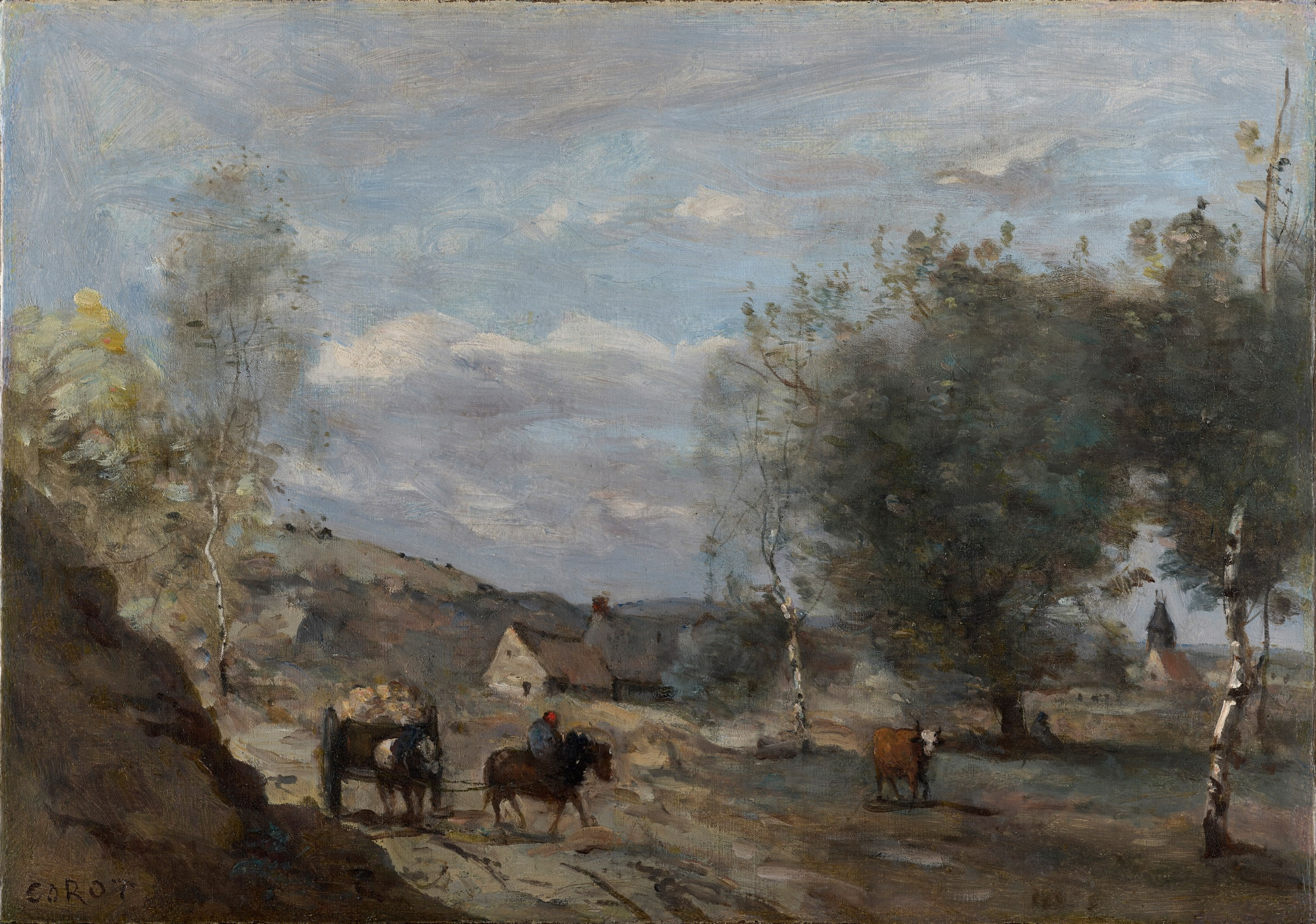 """<span class=""""link fancybox-details-link""""><a href=""""/viewing-room/2/works/artworks_standalone9470/"""">View Detail Page</a></span><div class=""""signed_and_dated"""">Signed 'COROT' lower left</div><div class=""""medium"""">Oil on canvas</div><div class=""""dimensions"""">32.3 x 45.9 cm<br /> 12 ¾ x 18 1/16 inches</div>"""