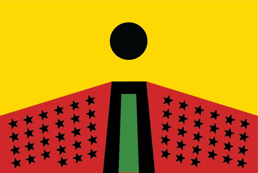 <span class=&#34;link fancybox-details-link&#34;><a href=&#34;/exhibitions/167/works/image2961/&#34;>View Detail Page</a></span><div class=&#34;artist&#34;><strong>Larry Achiampong</strong></div><div class=&#34;title&#34;><em>PAN AFRICAN FLAG FOR THE RELIC TRAVELLERS&#8217; ALLIANCE</em>, 2018</div><div class=&#34;medium&#34;>unlimited giveaway poster, 140gsm Matt paper</div><div class=&#34;medium&#34;>29.7 x 42 cm</div><p>Courtesy the artistCommissioned for 3-Phase, a partnership between Jerwood Charitable Foundation, WORKPLACE and Eastside Projects.</p>