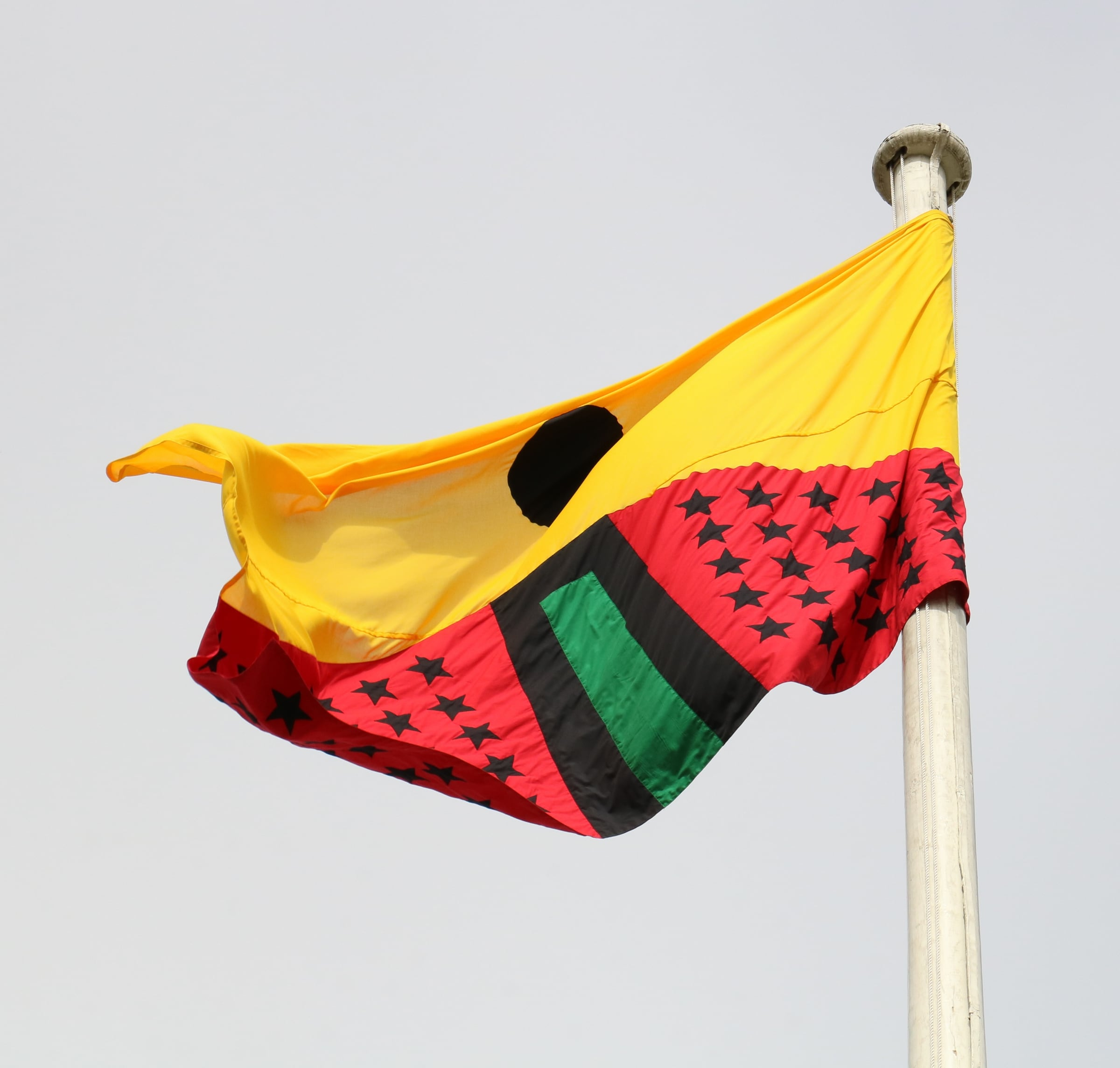 <span class=&#34;link fancybox-details-link&#34;><a href=&#34;/exhibitions/167/works/image2964/&#34;>View Detail Page</a></span><div class=&#34;artist&#34;><strong>Larry Achiampong</strong></div><div class=&#34;title&#34;><em>PAN AFRICAN FLAG FOR THE RELIC TRAVELLERS&#8217; ALLIANCE</em>, 2017</div><div class=&#34;medium&#34;>Appliqu&#233; Flag</div><p>200 x 300 cm</p><p>Courtesy of the artist. Commissioned by Somerset House.</p>