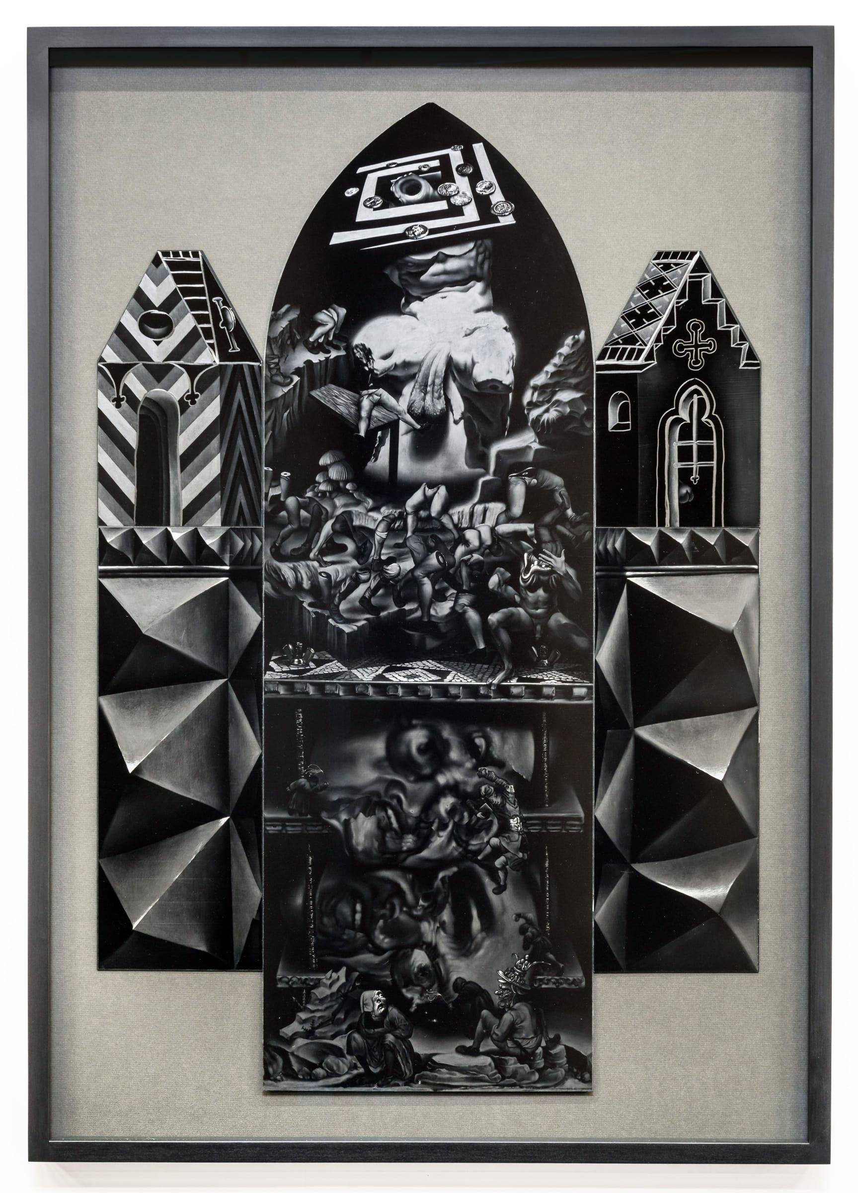 <span class=&#34;link fancybox-details-link&#34;><a href=&#34;/exhibitions/98/works/image2014/&#34;>View Detail Page</a></span><div id=&#34;artwork-panel-details&#34; class=&#34;standard-artwork-details&#34;><div class=&#34;artist&#34;><strong>Robert McNally</strong></div><div class=&#34;title&#34;><em>Peristalsis of weak and feeble</em>, 2016</div><div class=&#34;medium&#34;>Graphite on ultra-black carbon nanotube coated aluminium</div><div class=&#34;dimensions&#34;>102 x 72 cm<br /> 40 1/8 x 28 3/8 in<br /> (Framed)</div><div class=&#34;dimensions&#34;><em>Courtesy of David Risley gallery Copenhagen</em></div></div>