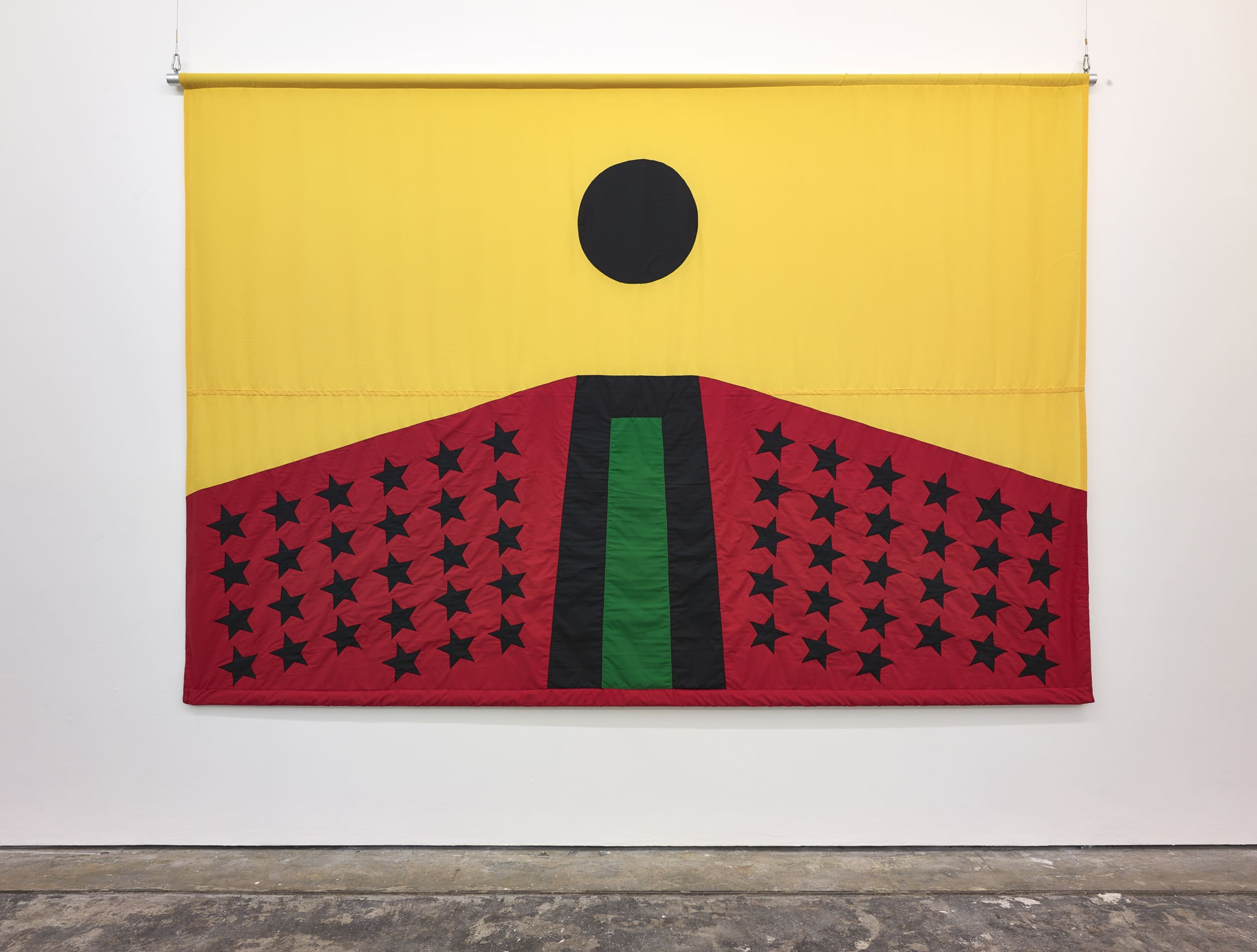 <span class=&#34;link fancybox-details-link&#34;><a href=&#34;/exhibitions/167/works/image2962/&#34;>View Detail Page</a></span><div class=&#34;artist&#34;><strong>Larry Achiampong</strong></div><div class=&#34;title&#34;><em>PAN AFRICAN FLAG FOR THE RELIC TRAVELLERS&#8217; ALLIANCE</em>, 2017</div><div class=&#34;medium&#34;>Appliqu&#233; Flag</div><p>200 x 300 cm</p><p>Courtesy of the artist. Photo: John McKenzie</p><p>Commissioned by Somerset House.</p>