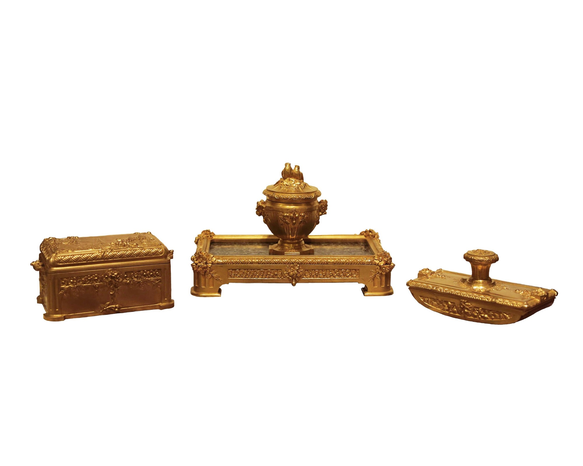 Three Piece Bronze Gilt And Marble Desk Set