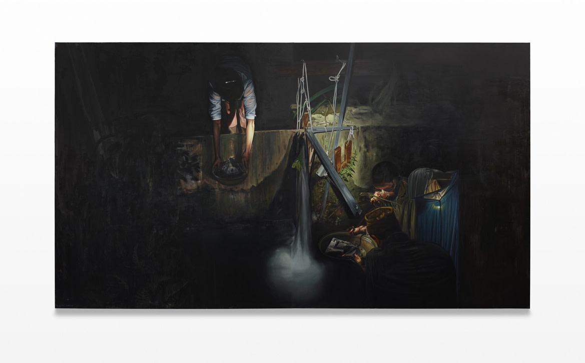<span class=&#34;link fancybox-details-link&#34;><a href=&#34;/artists/57-lopold-rabus/works/4897/&#34;>View Detail Page</a></span><div class=&#34;artist&#34;><strong>Leopold RABUS</strong></div> <div class=&#34;title&#34;><em>Colmatage d'un seuil</em>, 2011</div> <div class=&#34;medium&#34;>huile sur toile / oil on canvas</div> <div class=&#34;dimensions&#34;>280 x 500 x 6 cm<br /> 110 1/4 x 196 7/8 x 2 3/8 in<br /> 2 canvasses of 280 x 250 cm</div><div class=&#34;copyright_line&#34;>Copyright The Artist</div>