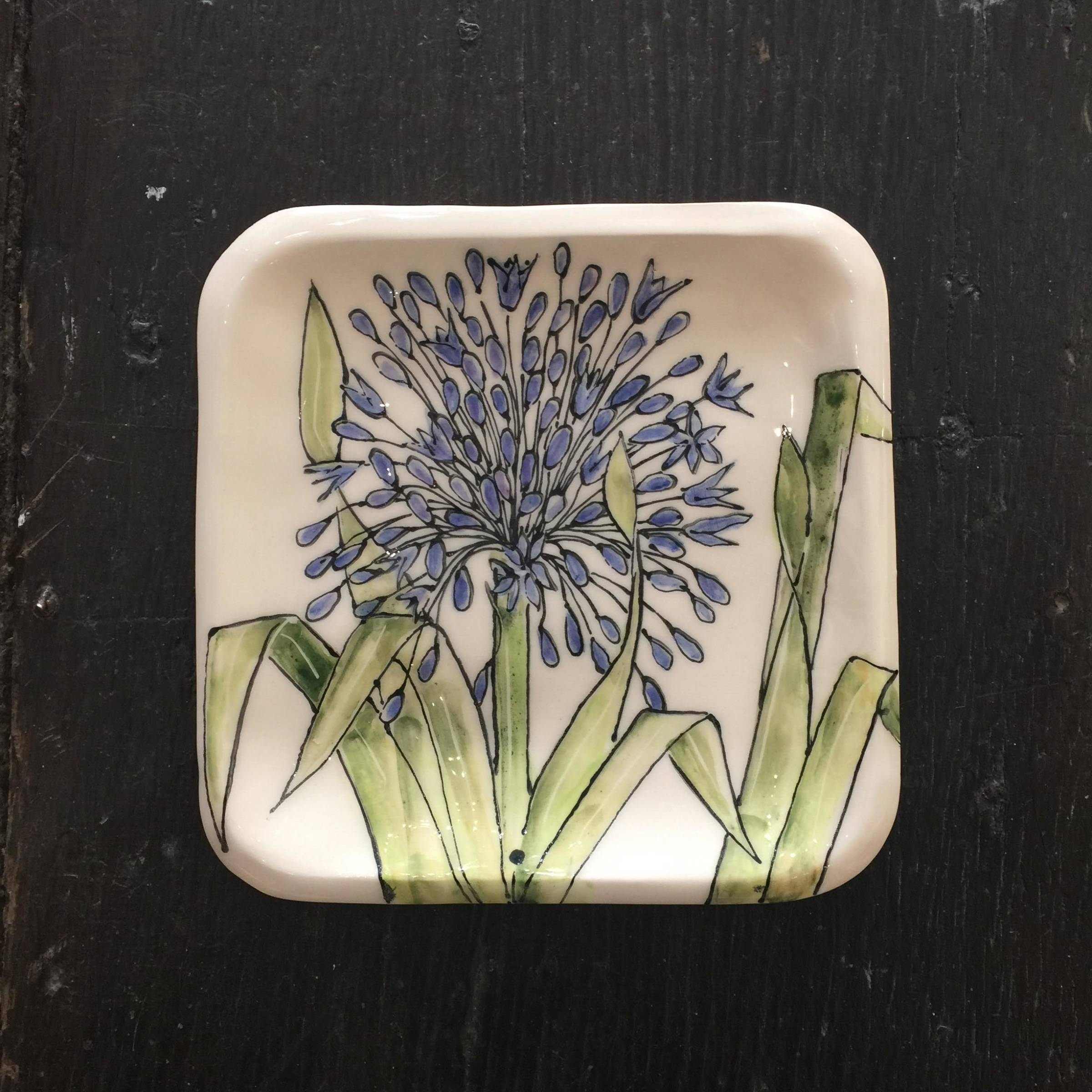 <span class=&#34;link fancybox-details-link&#34;><a href=&#34;/artists/33-kerry-edwards/works/2390-kerry-edwards-small-agapanthus-dish/&#34;>View Detail Page</a></span><div class=&#34;artist&#34;><strong>Kerry Edwards</strong></div> <div class=&#34;title&#34;><em>Small Agapanthus Dish</em></div> <div class=&#34;medium&#34;>Ceramic</div> <div class=&#34;dimensions&#34;>16 x 16 cm</div><div class=&#34;price&#34;>£45.00</div><div class=&#34;copyright_line&#34;>Copyright The Artist</div>