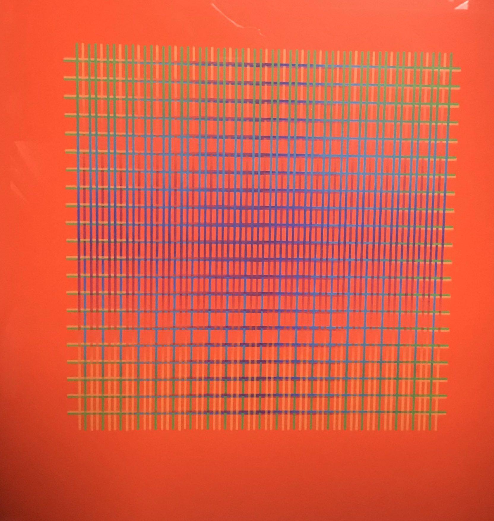 """<span class=""""link fancybox-details-link""""><a href=""""/artists/168-julia-atkinson/works/2600-julia-atkinson-interchange-series-14-vermillion-1977/"""">View Detail Page</a></span><div class=""""artist""""><strong>Julia Atkinson</strong></div> <div class=""""title""""><em>Interchange - Series 14 - Vermillion</em>, 1977</div> <div class=""""medium"""">Screenprint on chromalux paper</div> <div class=""""dimensions"""">7 1x 50 cm</div> <div class=""""edition_details"""">Edition of 20 (#2/20)</div><div class=""""price"""">£750.00</div><div class=""""copyright_line"""">Copyright The Artist</div>"""