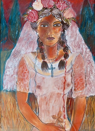 "<span class=""link fancybox-details-link""><a href=""/artists/197-anne-whyatt/works/2821-anne-whyatt-the-bride/"">View Detail Page</a></span><div class=""artist""><strong>Anne Whyatt</strong></div> <div class=""title""><em>The Bride</em></div> <div class=""medium"">Pastel on Paper</div> <div class=""dimensions"">73 x 53cm</div><div class=""price"">£1,250.00</div><div class=""copyright_line"">Copyright The Artist</div>"