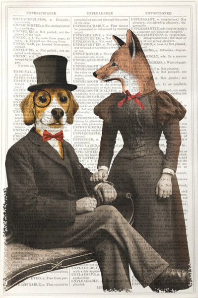 "<span class=""link fancybox-details-link""><a href=""/artists/204-unframed-prints/works/3015-unframed-prints-beagle-and-fox/"">View Detail Page</a></span><div class=""artist""><strong>Unframed Prints</strong></div> <div class=""title""><em>Beagle and Fox</em></div> <div class=""medium"">Vintage Dictionary Print </div> <div class=""dimensions"">25 x 17 </div> <div class=""edition_details""></div><div class=""price"">£10.00</div><div class=""copyright_line"">Copyright The Artist</div>"