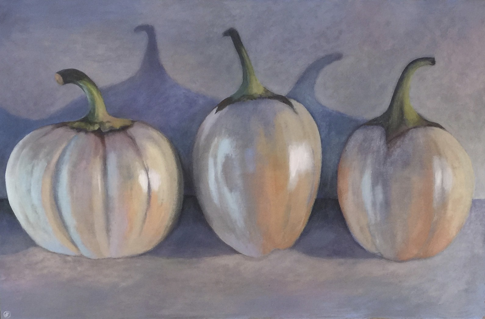 """<span class=""""link fancybox-details-link""""><a href=""""/artists/34-joyce-pinch/works/287-joyce-pinch-three-white-aubergines/"""">View Detail Page</a></span><div class=""""artist""""><strong>Joyce Pinch</strong></div> <div class=""""title""""><em>Three White Aubergines</em></div> <div class=""""medium"""">Acrylic on Board (framed)</div> <div class=""""dimensions"""">56 x 86 cm</div><div class=""""price"""">£750.00</div>"""