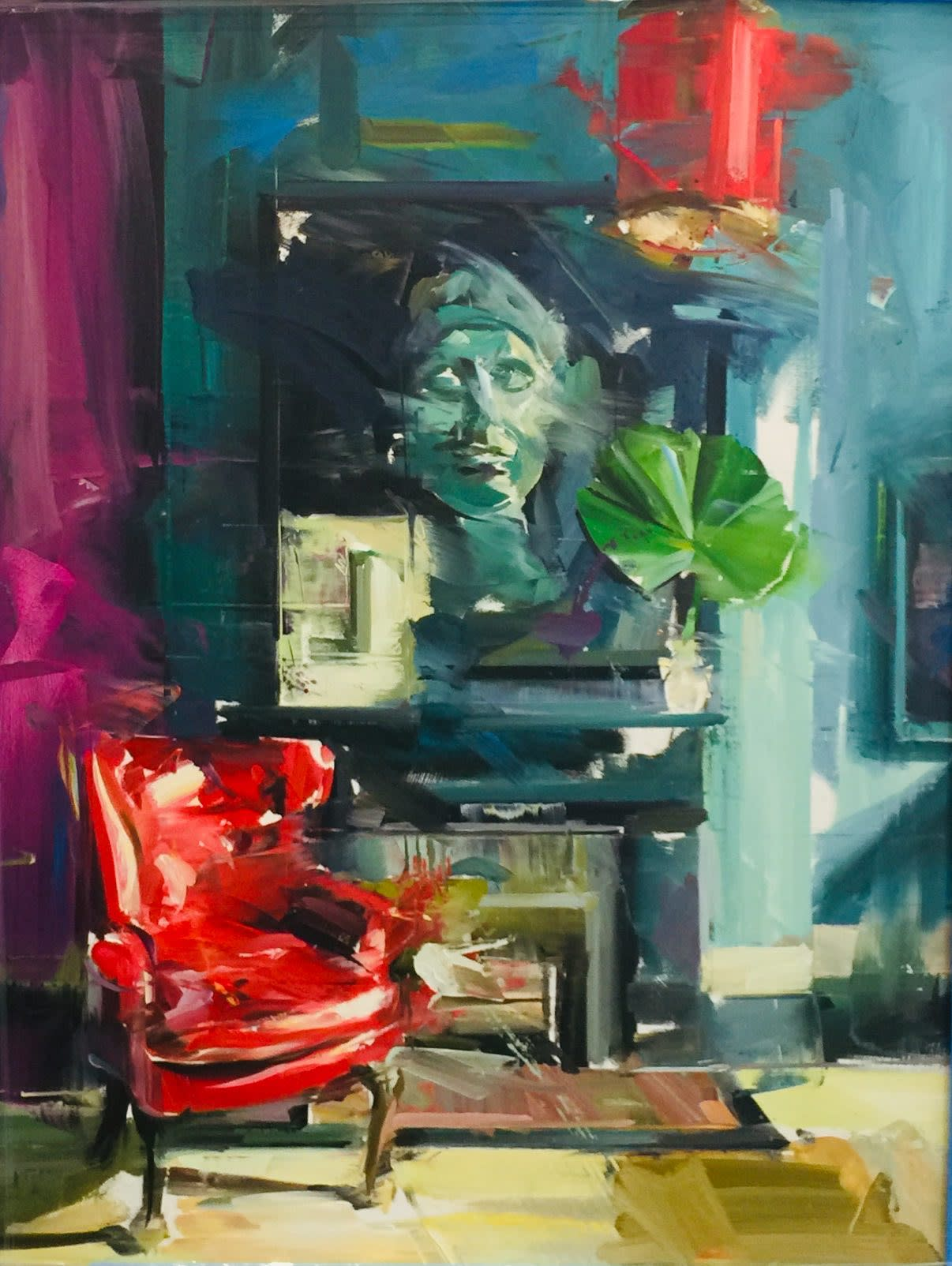 "<span class=""link fancybox-details-link""><a href=""/artists/188-paul-wright/works/2633-paul-wright-red-chair-rug-face/"">View Detail Page</a></span><div class=""artist""><strong>Paul Wright</strong></div> <div class=""title""><em>Red Chair, Rug, Face </em></div> <div class=""medium"">Oil on Linen</div> <div class=""dimensions"">130 x 100 cm </div><div class=""price"">£6,666.67</div><div class=""copyright_line"">Copyright The Artist</div>"