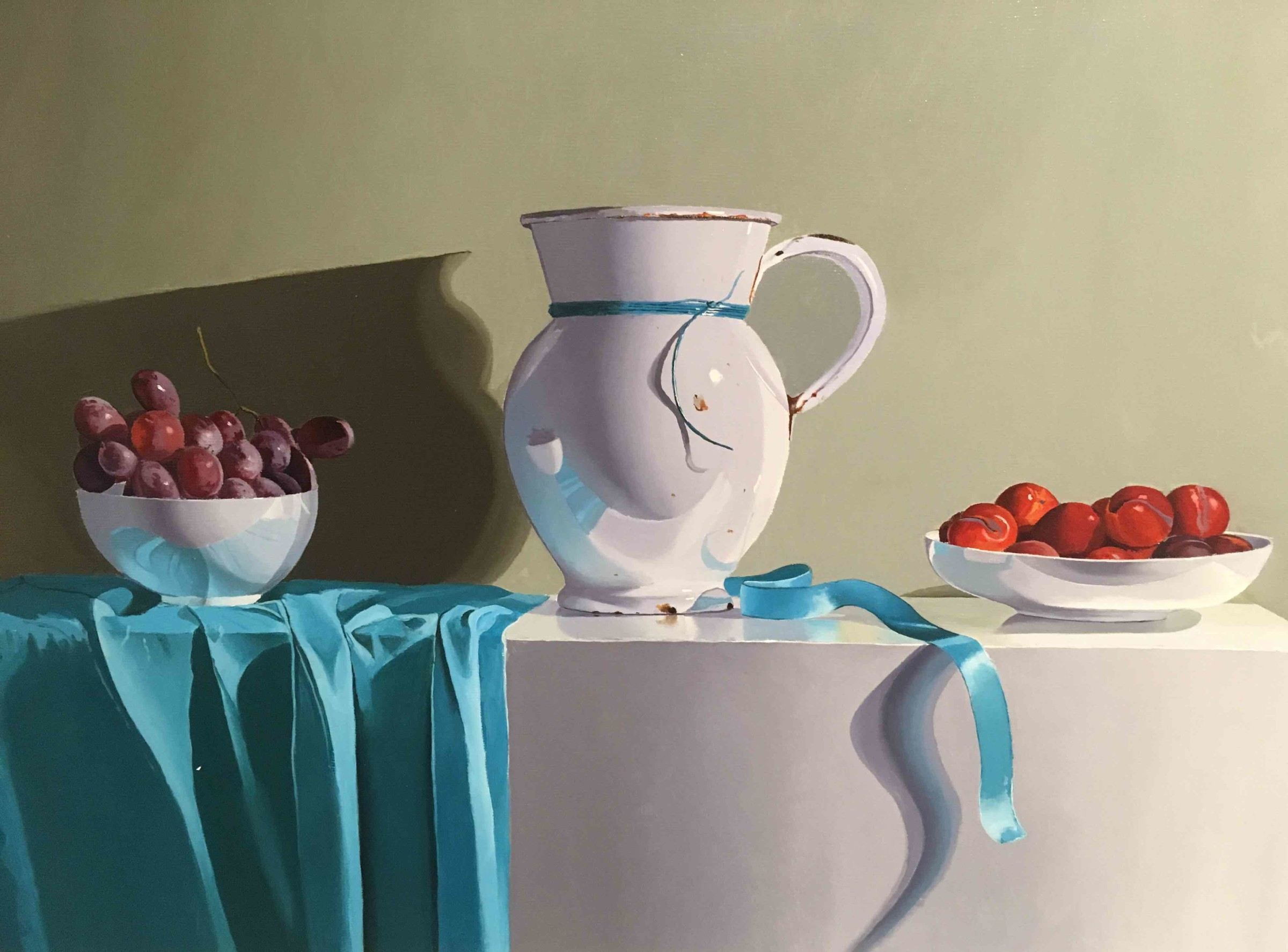 <span class=&#34;link fancybox-details-link&#34;><a href=&#34;/artists/67-robert-walker/works/1998-robert-walker-white-bowls-and-turquoise-ribbon/&#34;>View Detail Page</a></span><div class=&#34;artist&#34;><strong>Robert Walker</strong></div> <div class=&#34;title&#34;><em>White Bowls and Turquoise Ribbon </em></div> <div class=&#34;medium&#34;>Oil on Linen </div> <div class=&#34;dimensions&#34;>53 x 78 cm</div><div class=&#34;price&#34;>£1,900.00</div><div class=&#34;copyright_line&#34;>Copyright The Artist</div>