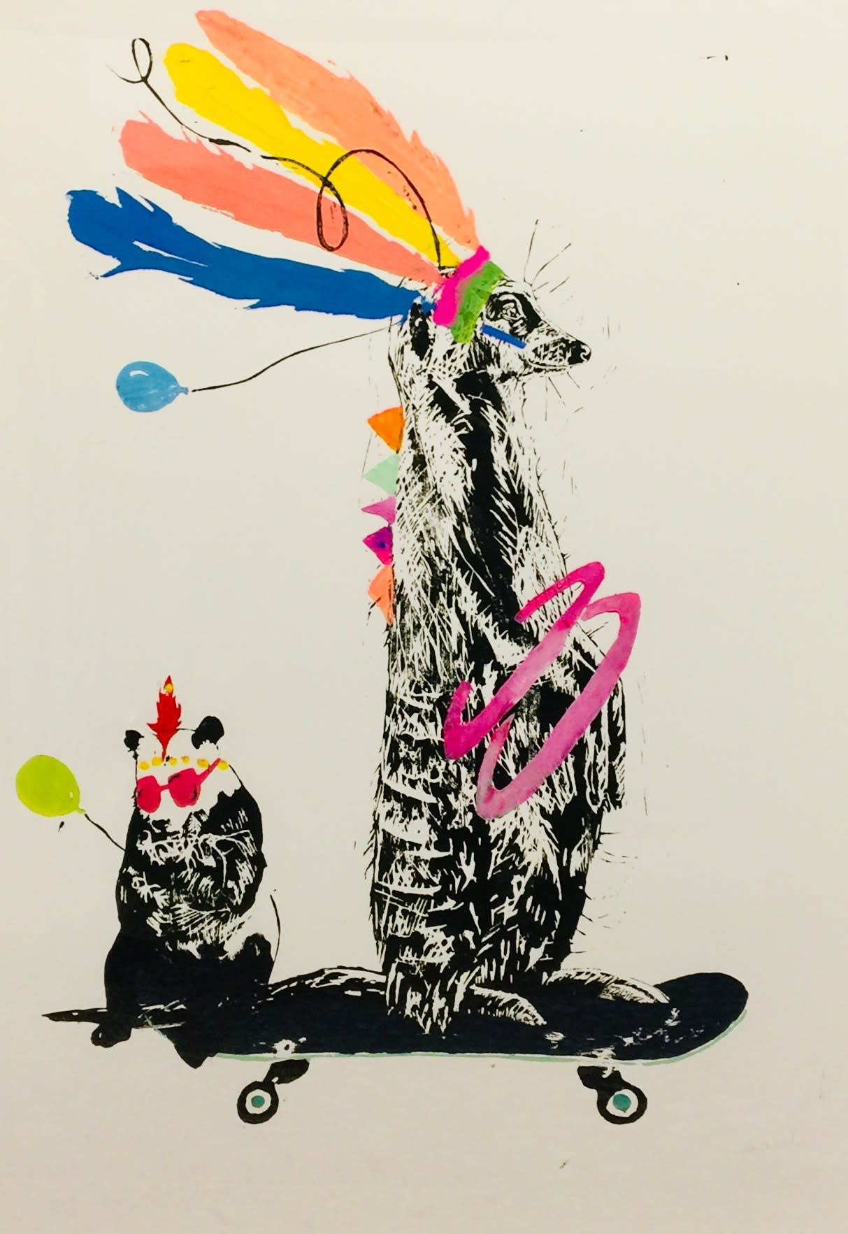 <span class=&#34;link fancybox-details-link&#34;><a href=&#34;/artists/39-millie-mccallum/works/2326-millie-mccallum-meerkat-with-panda-on-skateboard/&#34;>View Detail Page</a></span><div class=&#34;artist&#34;><strong>Millie McCallum</strong></div> <div class=&#34;title&#34;><em>Meerkat with Panda on Skateboard</em></div> <div class=&#34;medium&#34;>Linocut 1/1 (framed)</div> <div class=&#34;dimensions&#34;>100 x 70 cm </div><div class=&#34;copyright_line&#34;>Copyright The Artist</div>